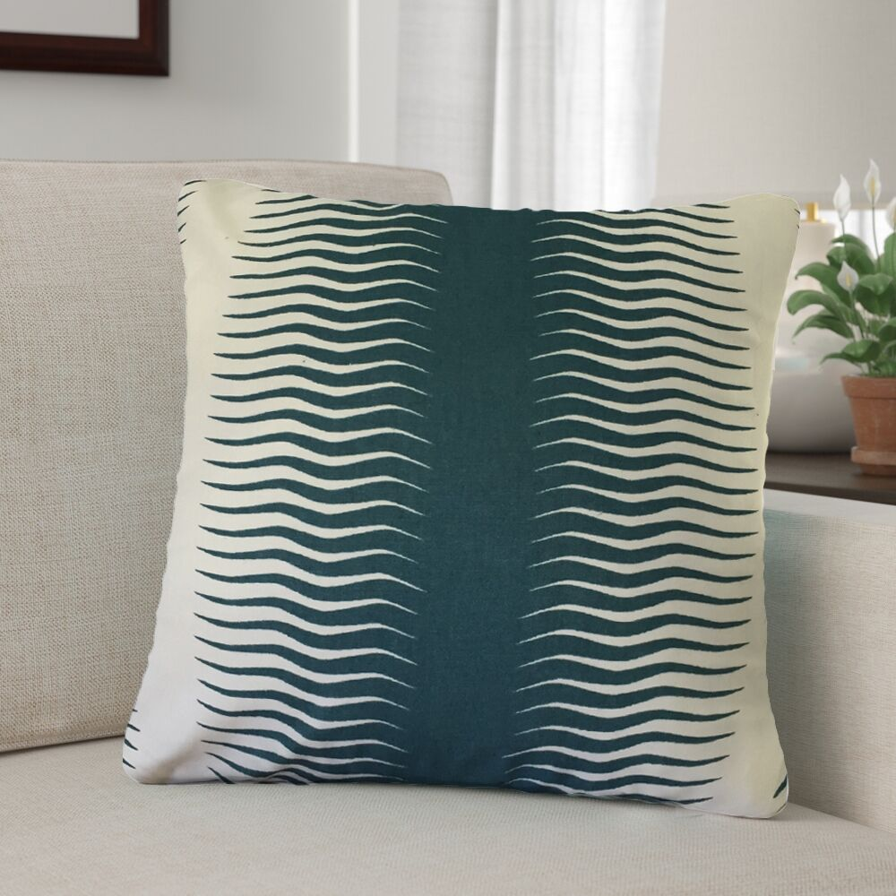 Arias Geometric Cotton Throw Pillow Color: Green