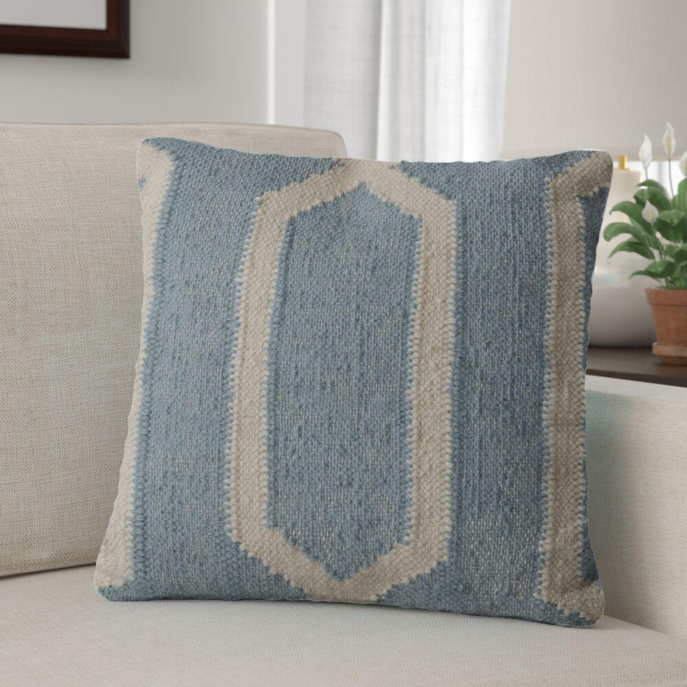 Centerburg Wool Throw Pillow Color: Light Blue