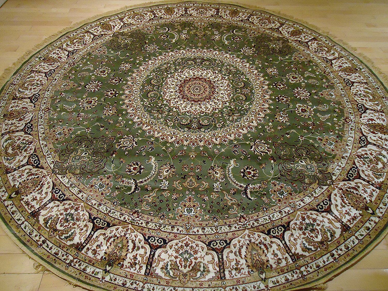 Shanelle Living Room Hand-Knotted Silk Green Area Rug Rug Size: Round 8'
