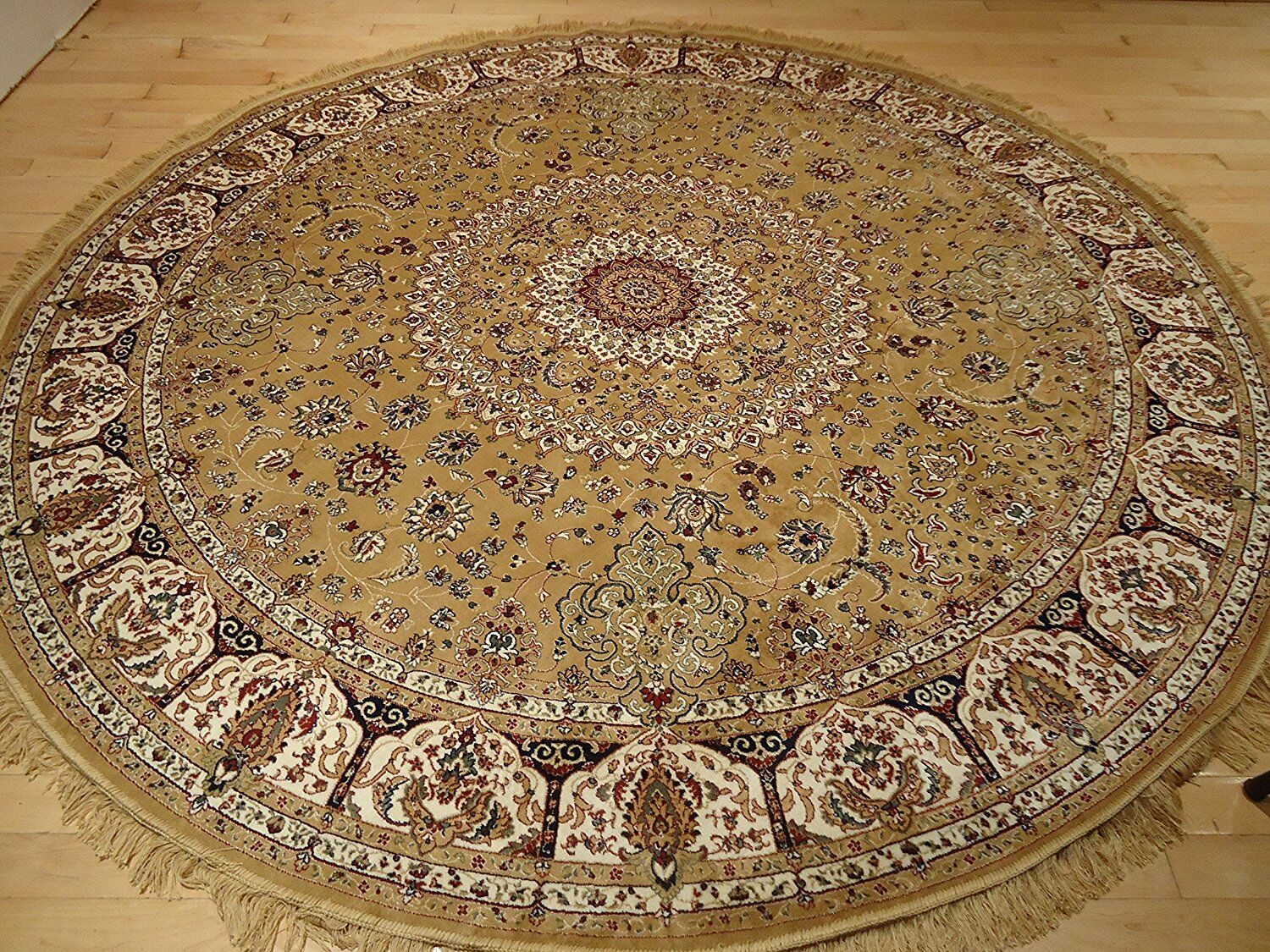 Shanelle Living Room Hand-Knotted Silk Gold Area Rug Rug Size: Round 5'.5