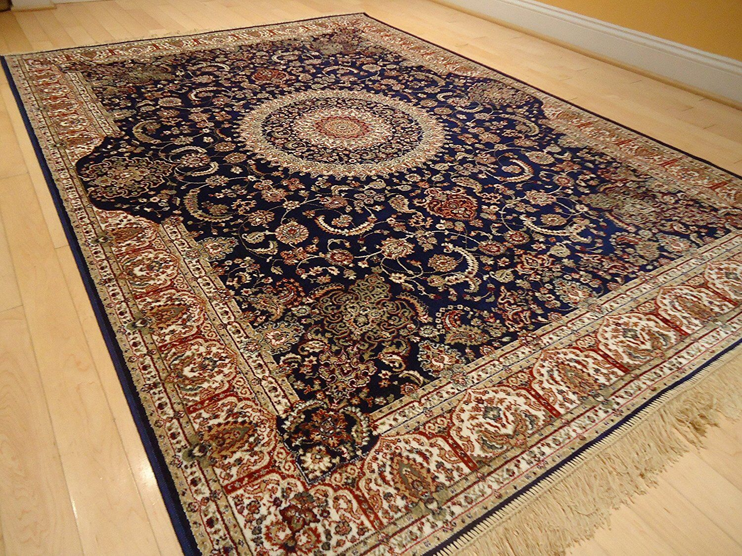 Shanelle Living Room Hand-Knotted Silk Navy Area Rug Rug Size: Rectangle 5' x 8'