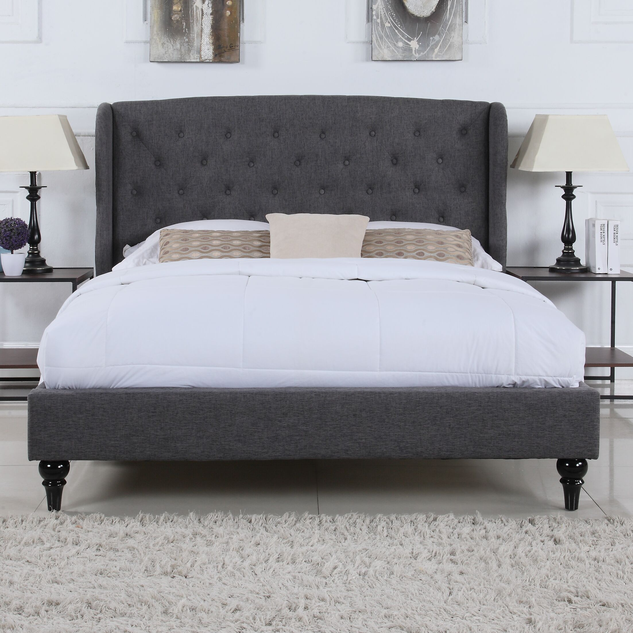 Rebello Classic Upholstered Platform Bed Size: Full/Double, Color: Gray