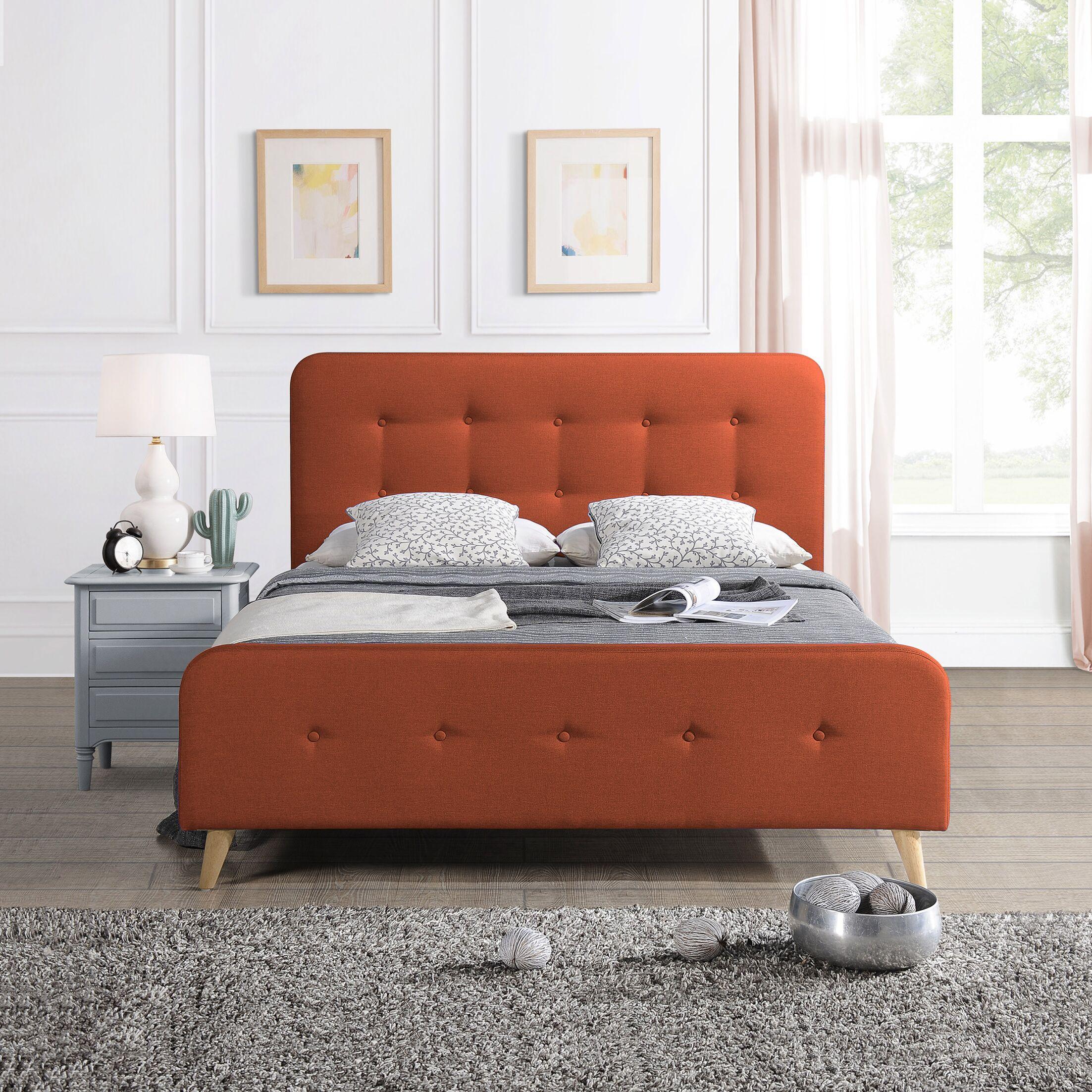 Kolb Queen Upholstered Panel Bed Color: Burnt Orange