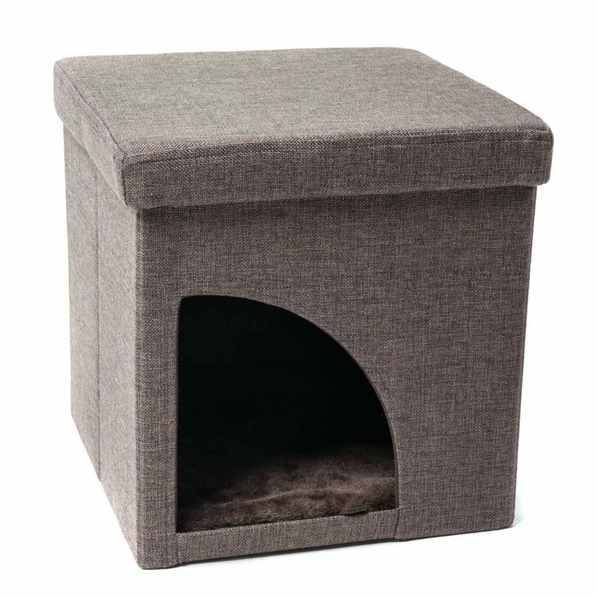 Soft Portable Opening Cat Play Cube Bed Color: Brown