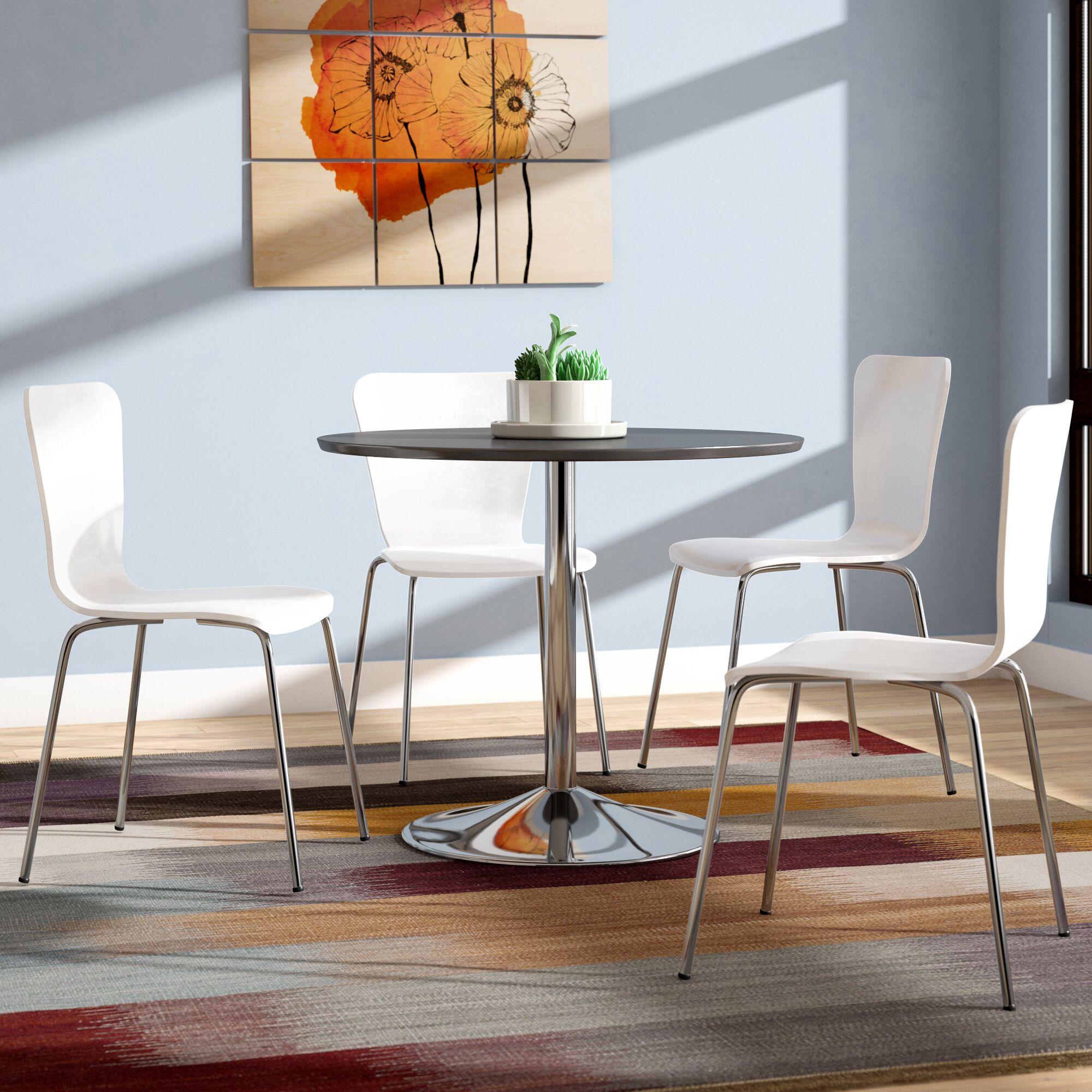 Saladino 5 Piece Dining Set Chair Color: White