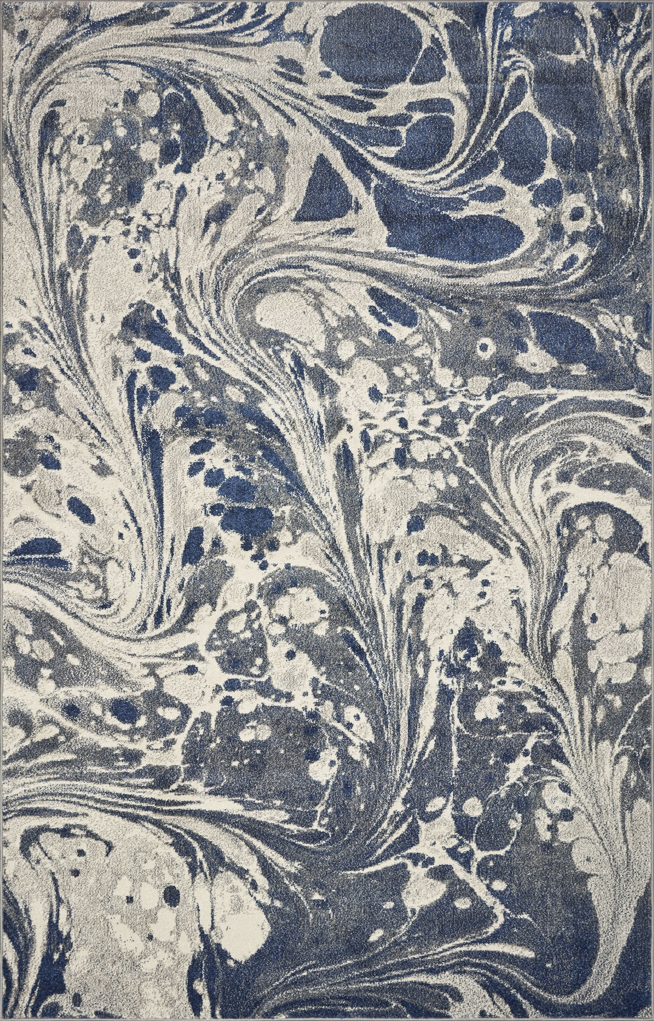 Strouth Marble Gray/Navy Area Rug Rug Size: Rectangle 5' x 7'6