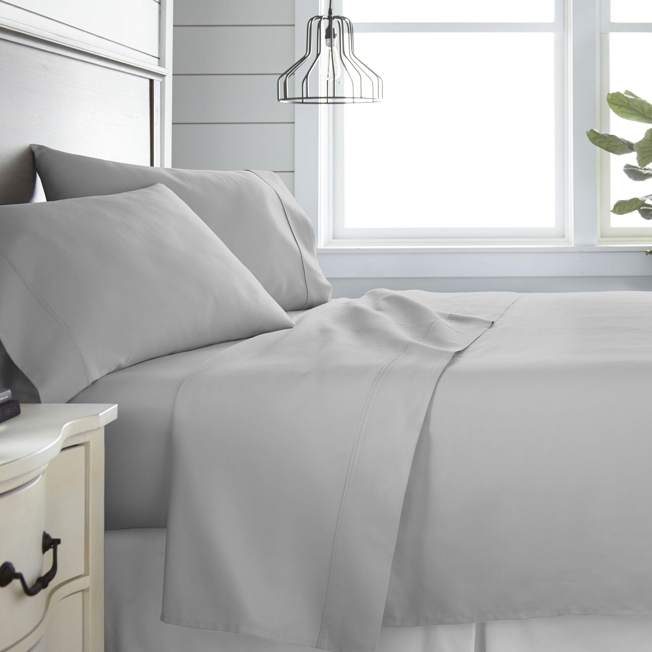 Long Ashton 300 Thread Count 100% Cotton Sheet Set Color: Light Gray, Size: Full