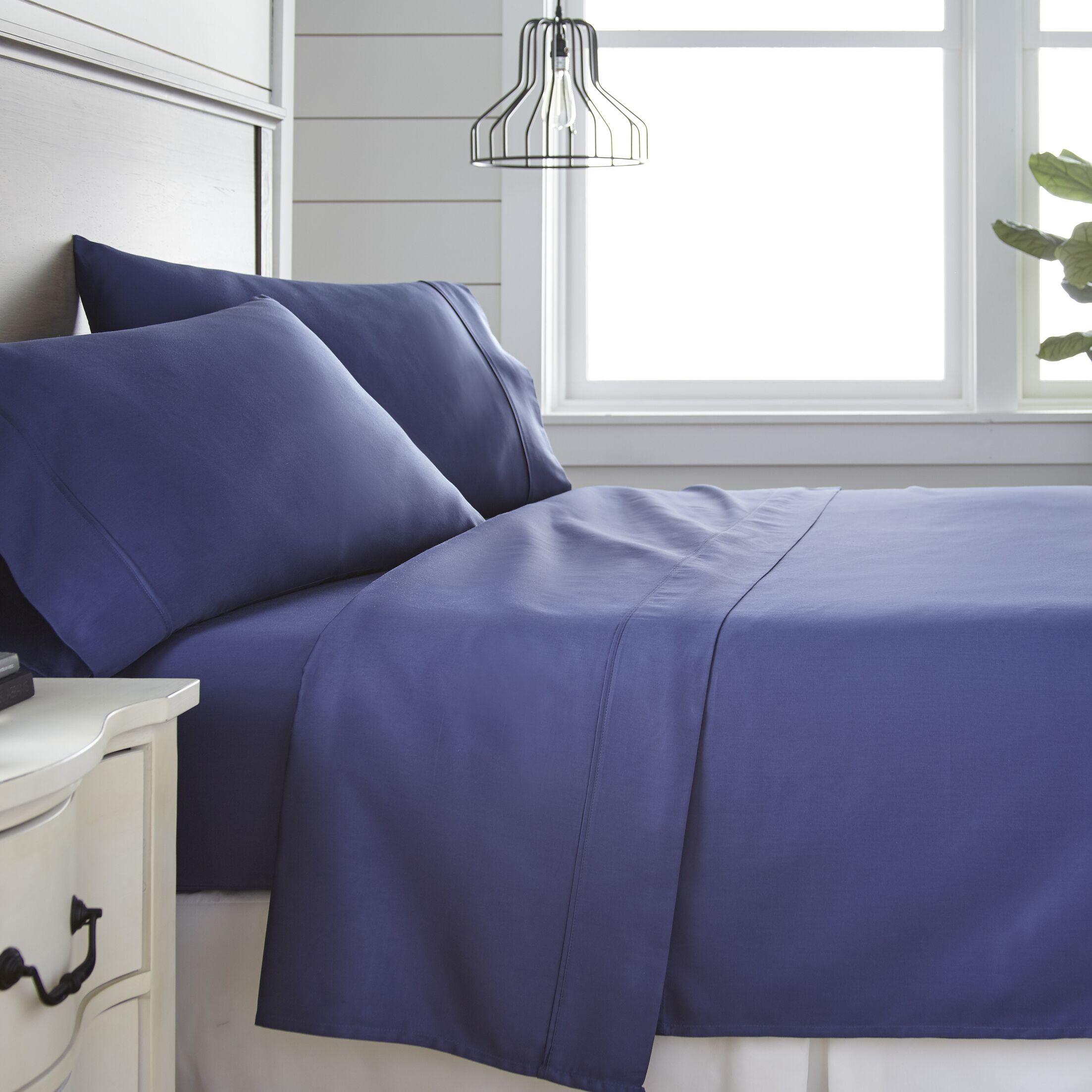 Long Ashton 300 Thread Count 100% Cotton Sheet Set Size: Twin, Color: Navy
