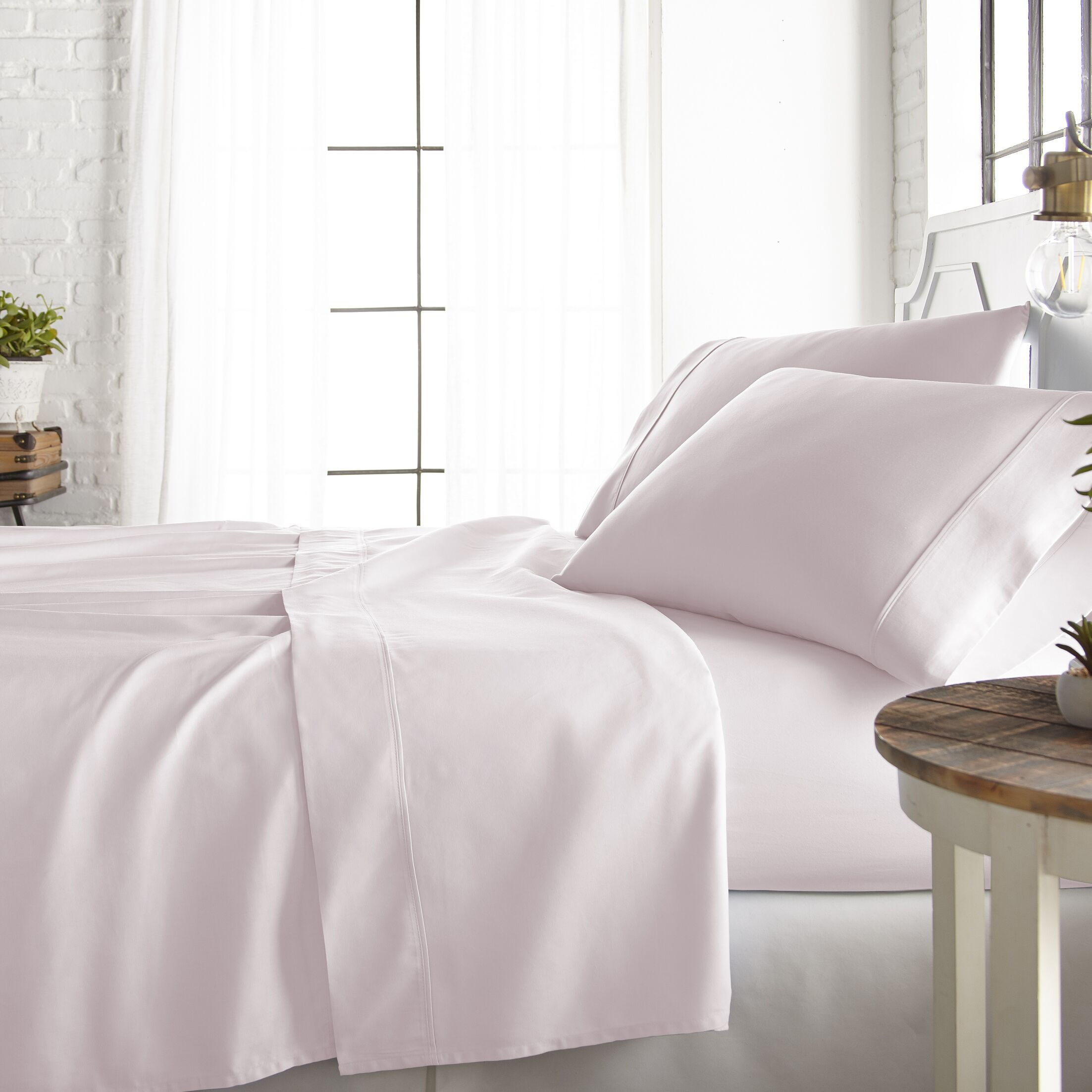 Rosaline 800 Thread Count Rich Percale Sheet Set Color: Blush, Size: King