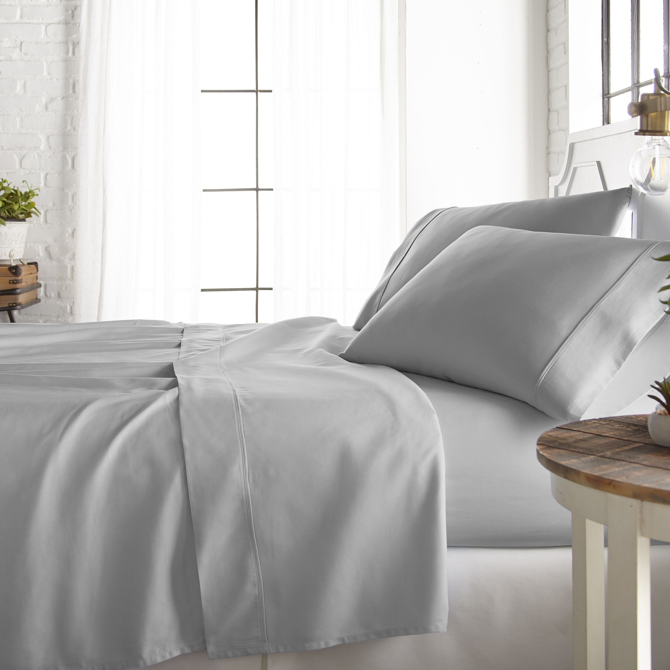Rosaline 800 Thread Count Rich Percale Sheet Set Color: Light Gray, Size: Twin