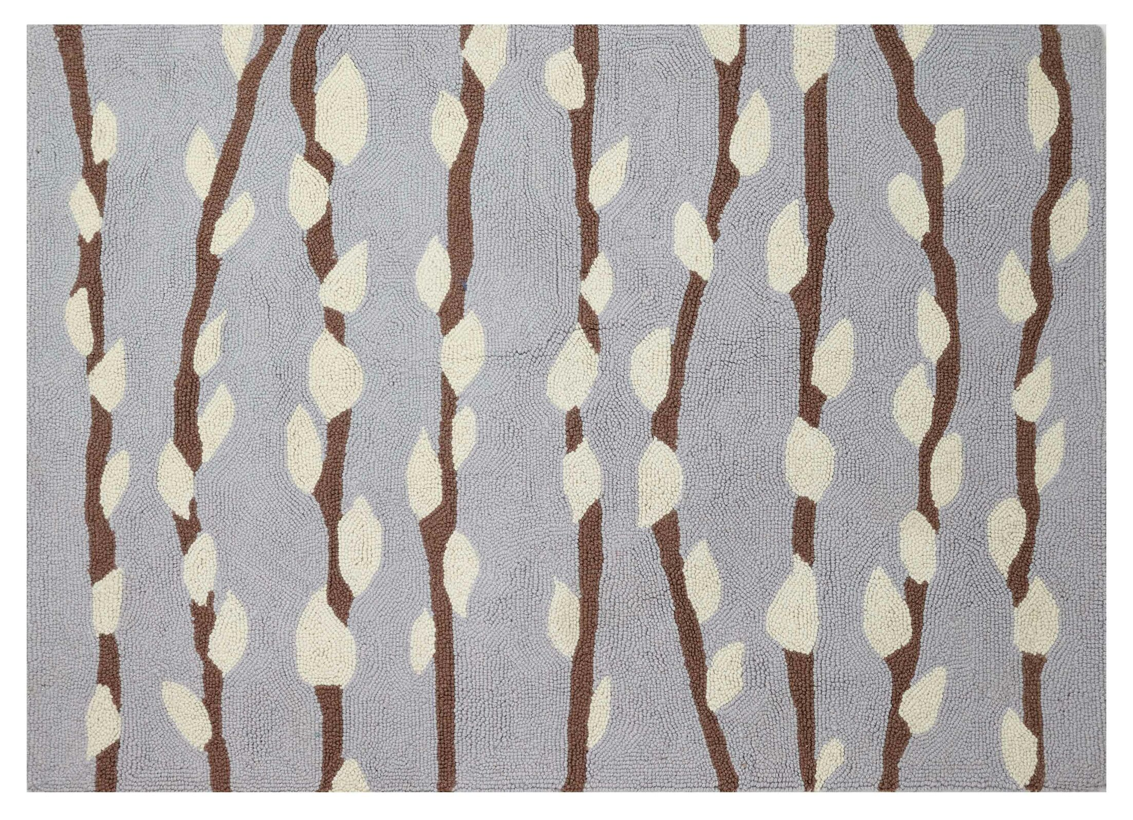 Beardall Hand-Hooked Wool Light Blue Area Rug