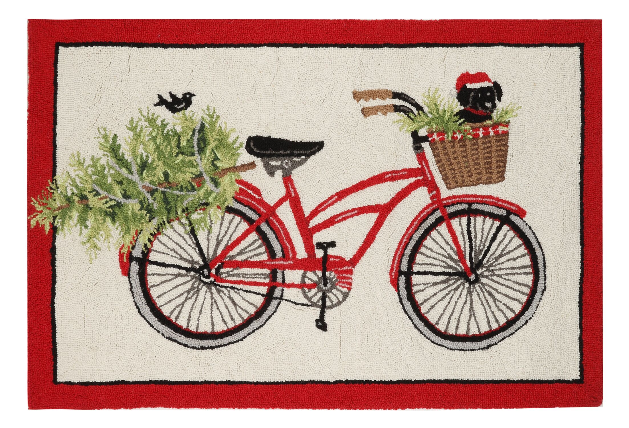 Mateer Bike Puppy Hand-Hooked Wool Red/Ivory Area Rug