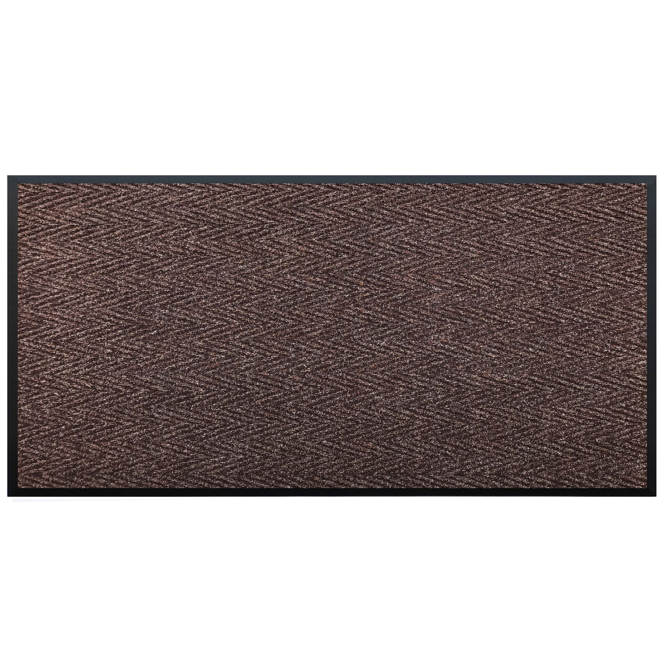 Leavy Vinyl Backed Commercial Doormat Color: Brown, Mat Size: Rectangle 3' x 6'