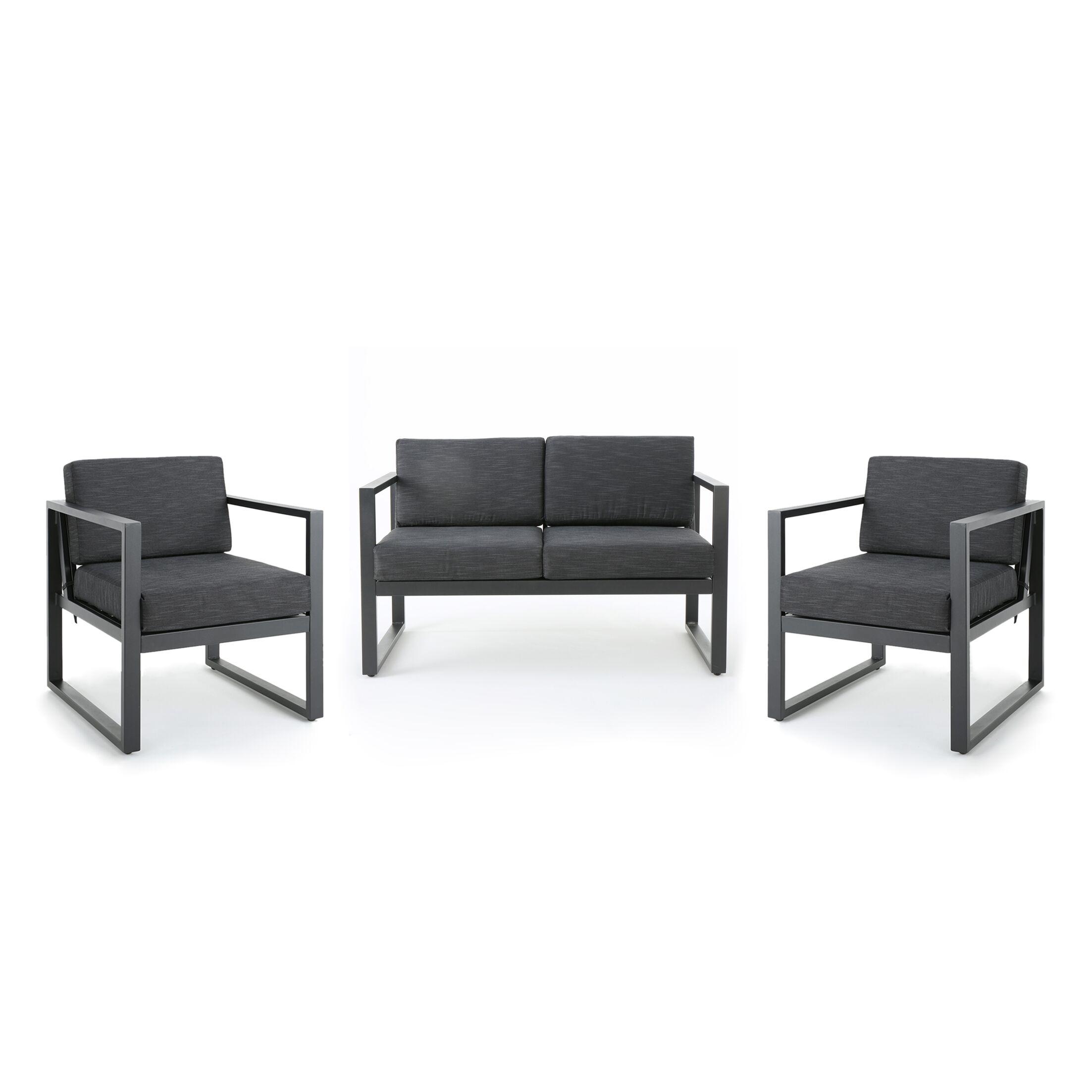 Eckenrode 3 Piece Conversation Set with Cushion