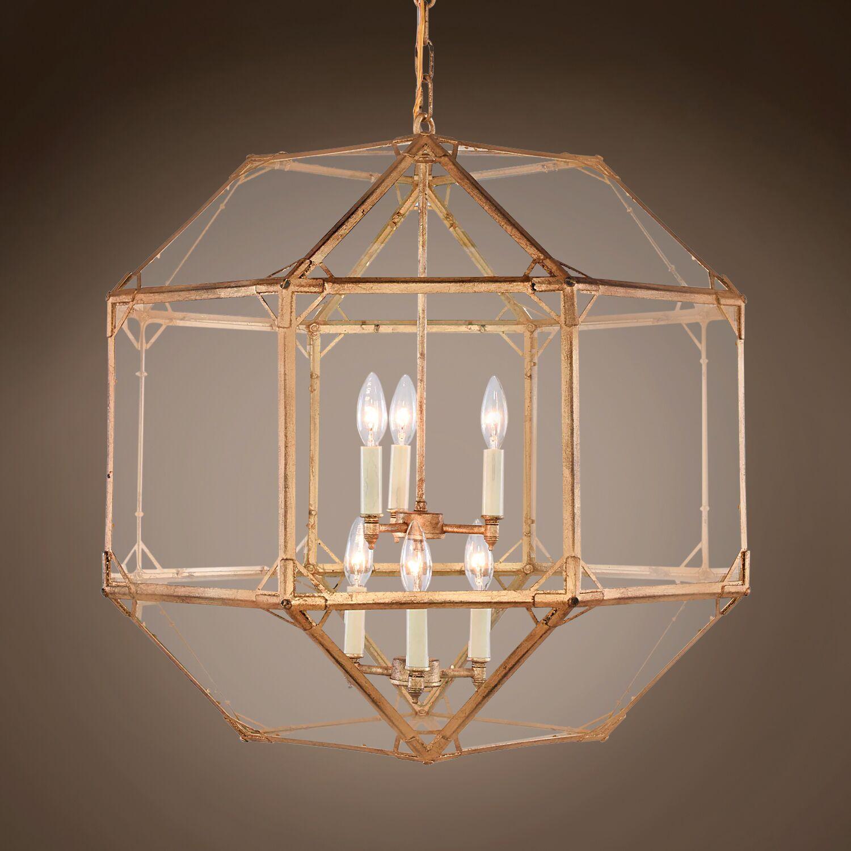Luebke Octagonal 6-Light Lantern Pendant Bulb Type: LED, Finish: Weathered Rust