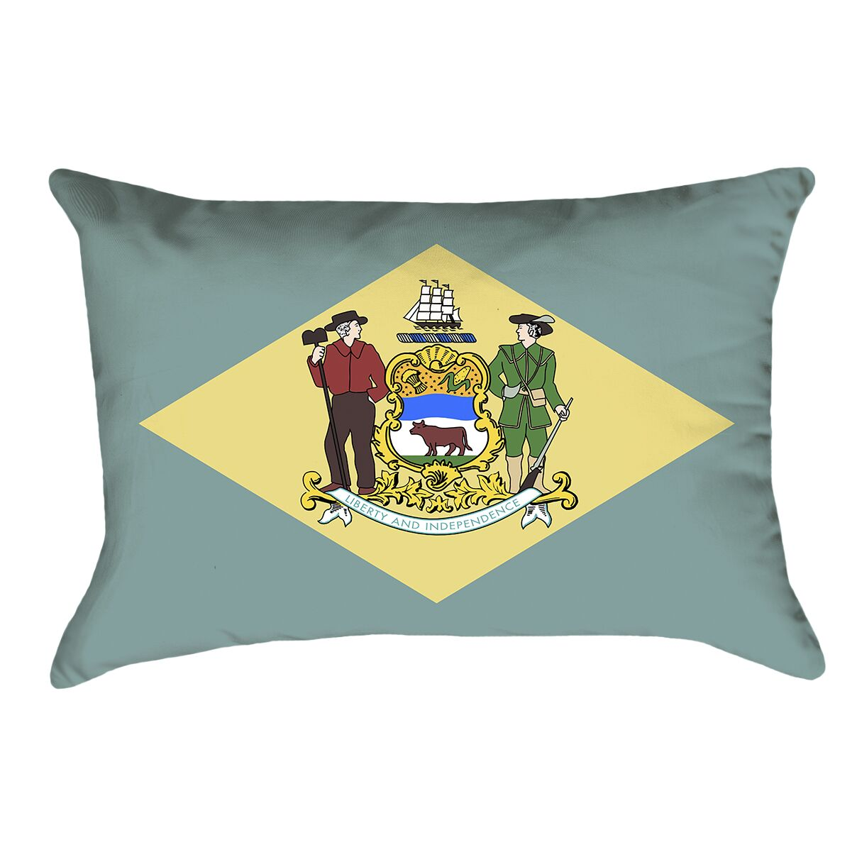 Centers Delaware Flag Lumbar Pillow Material/Product Type: Faux Linen Double Sided Print/Lumbar Pillow