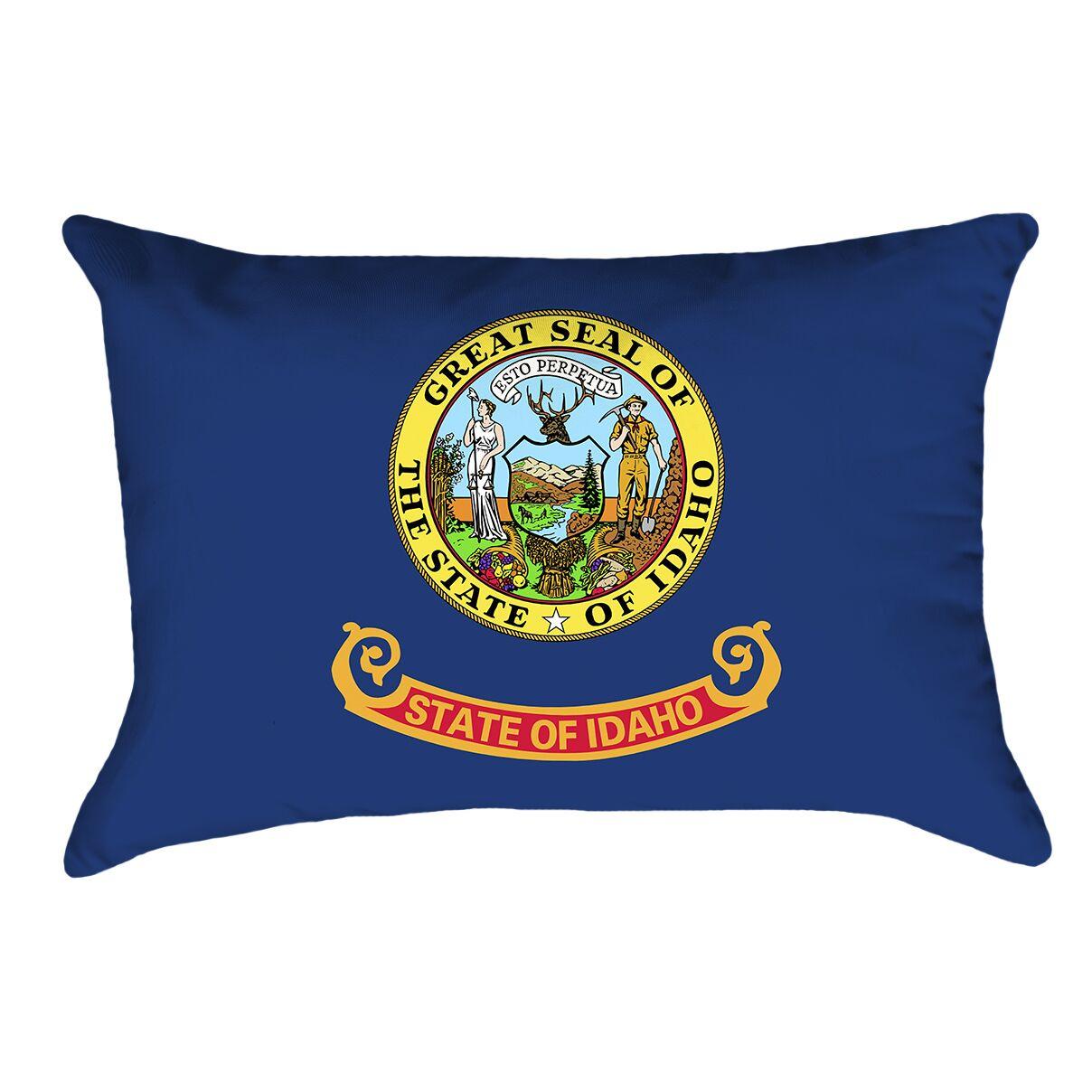 Centers Idaho Flag Lumbar Pillow Material/Product Type: Cotton Twill Double Sided Print/Lumbar Pillow