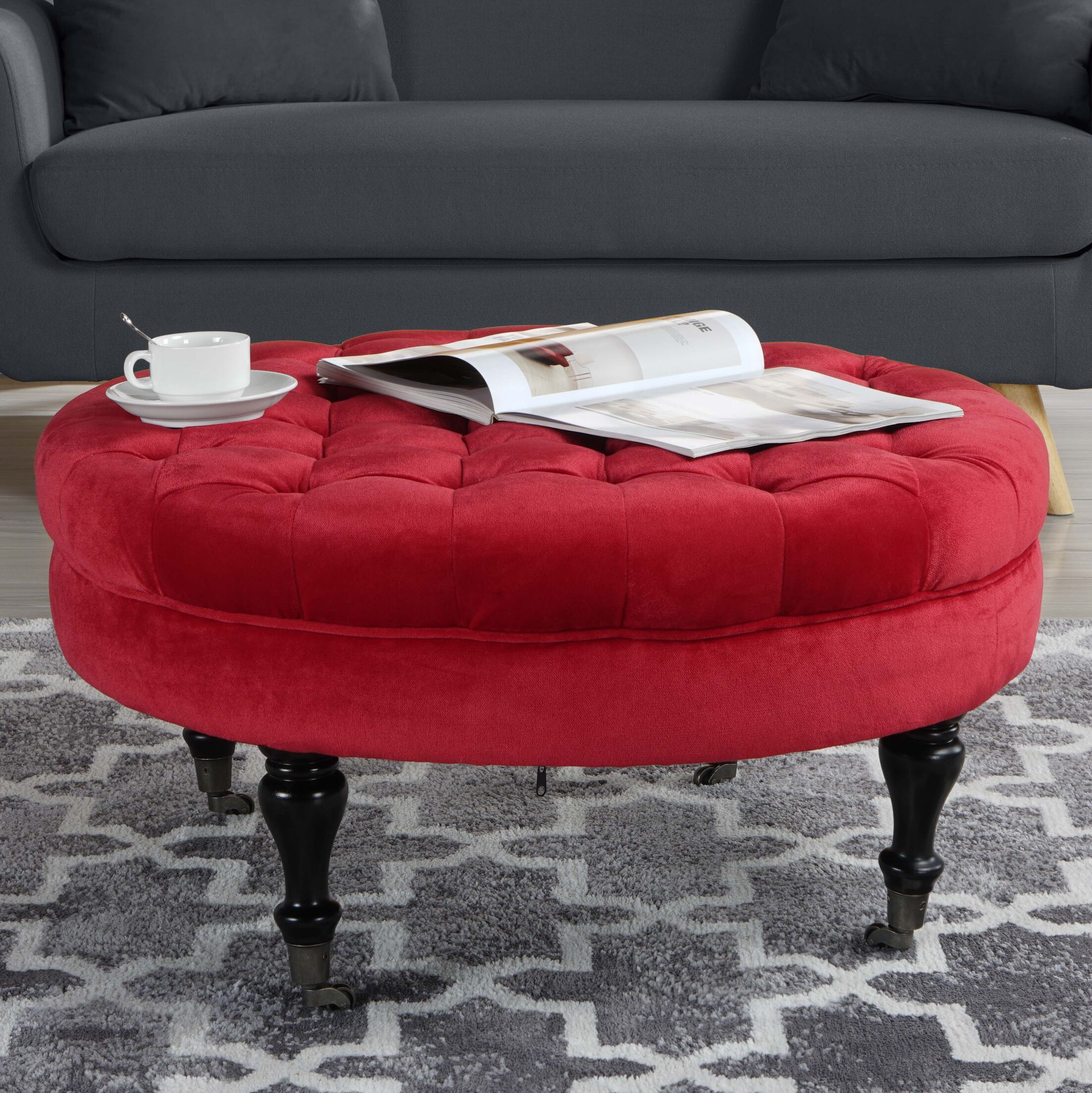 Roca Tufted Coffee Table Color: Red