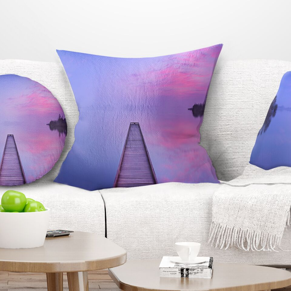 Bridge Jetty in a Dawn Lake Pillow Size: 16