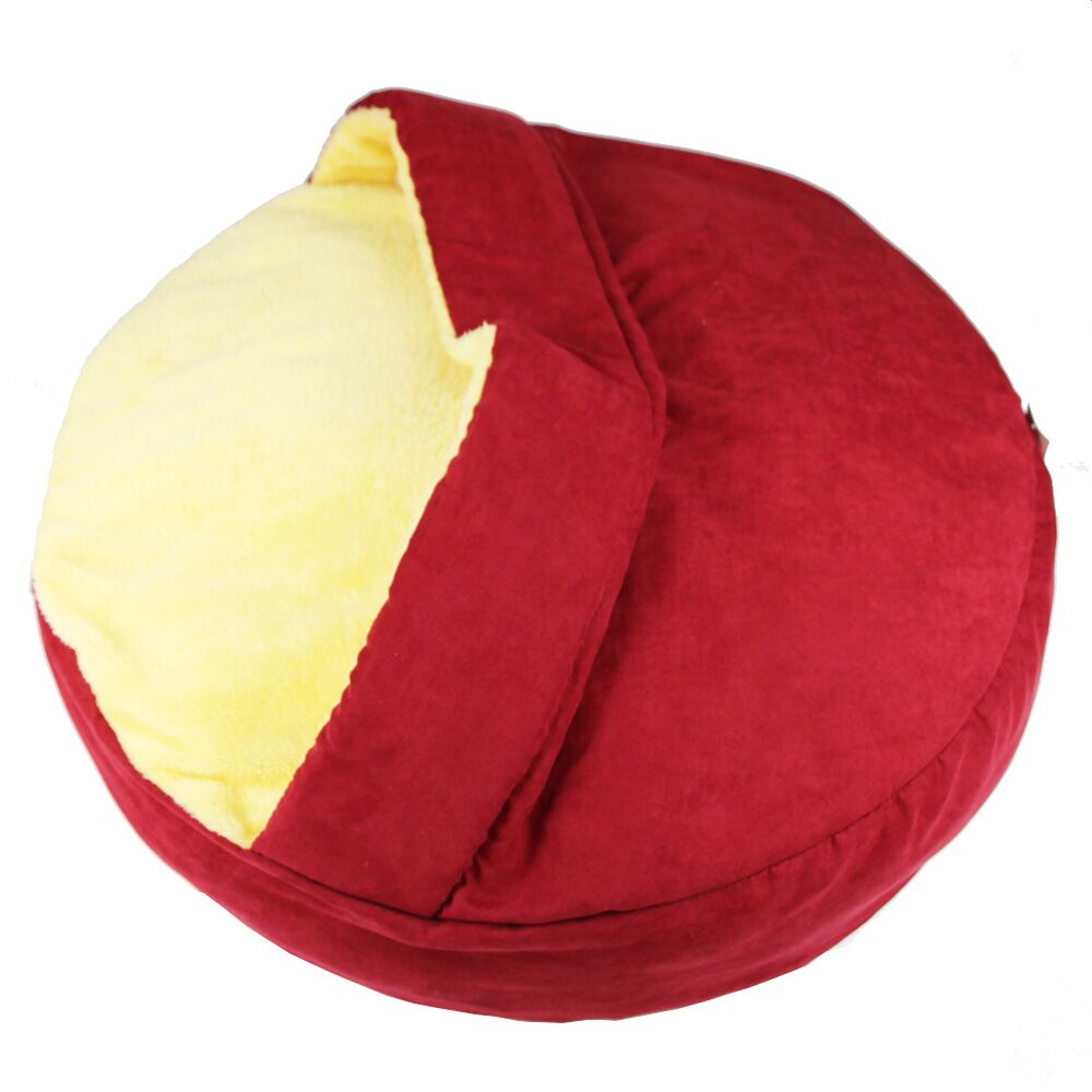 Pet Bed Hooded with Polyester Fill Color: Red