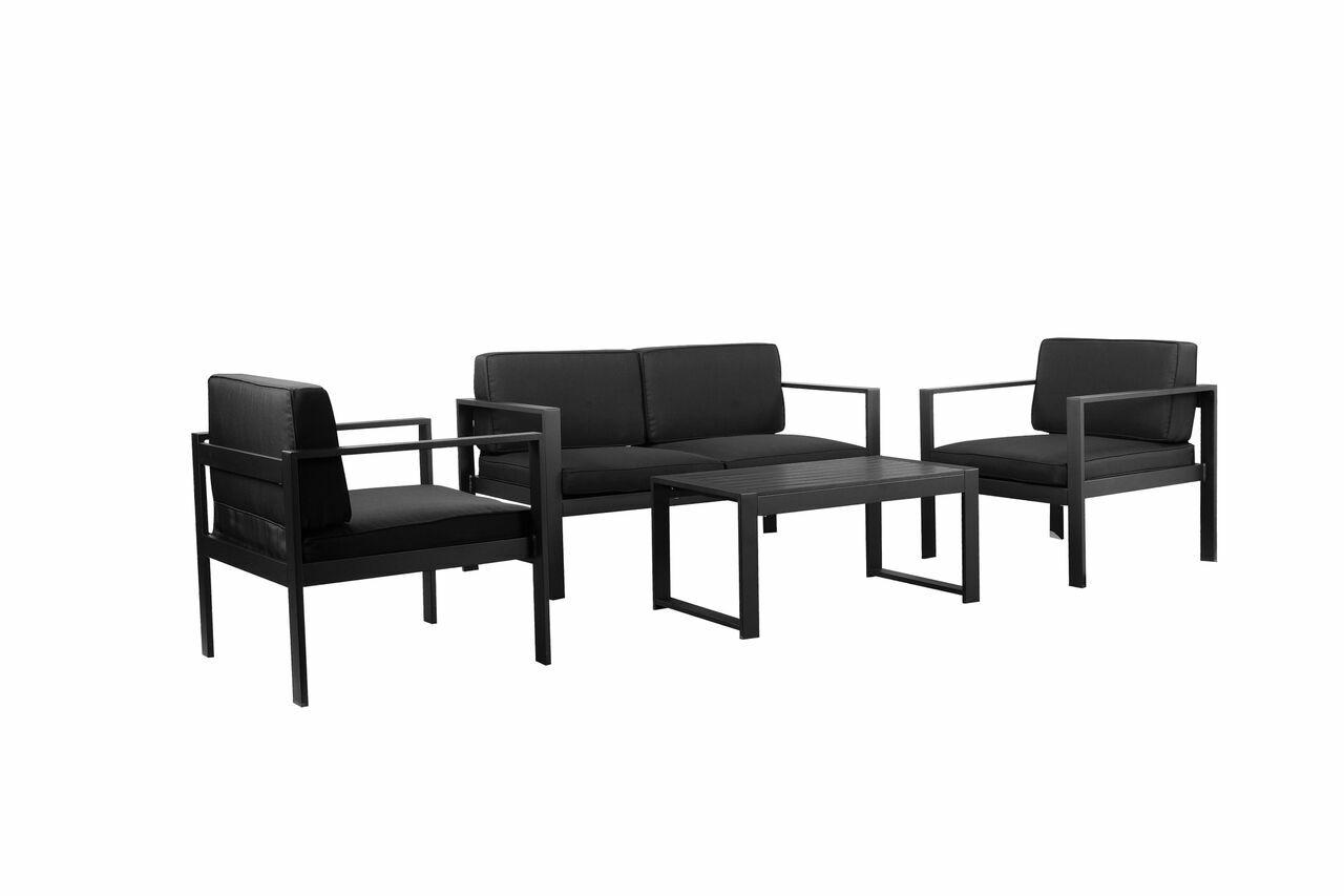 Gomer 4 Piece Sofa Set Color: Black