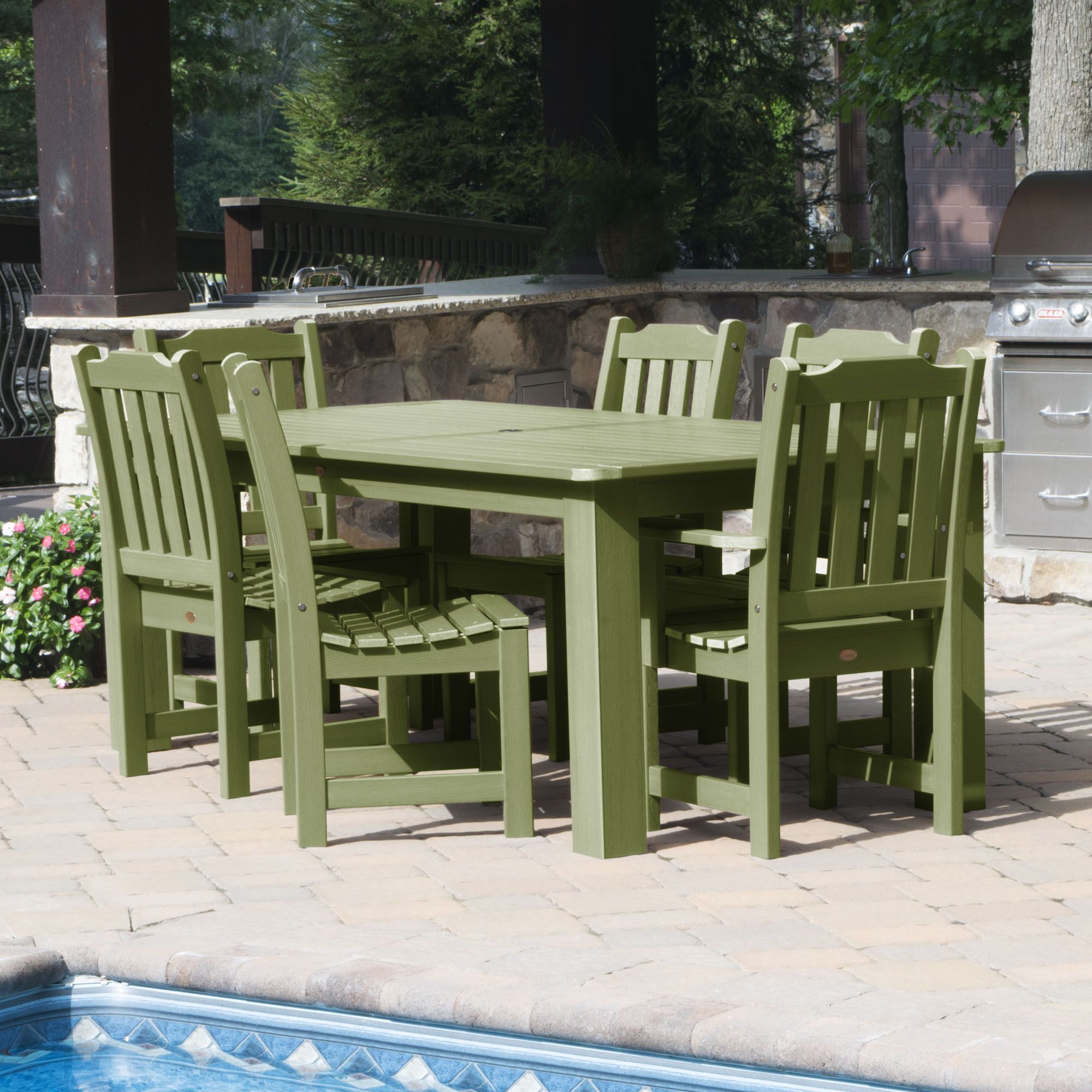 Cassell 7 Piece Dining Set Color: Dried Sage, Table Size: 30
