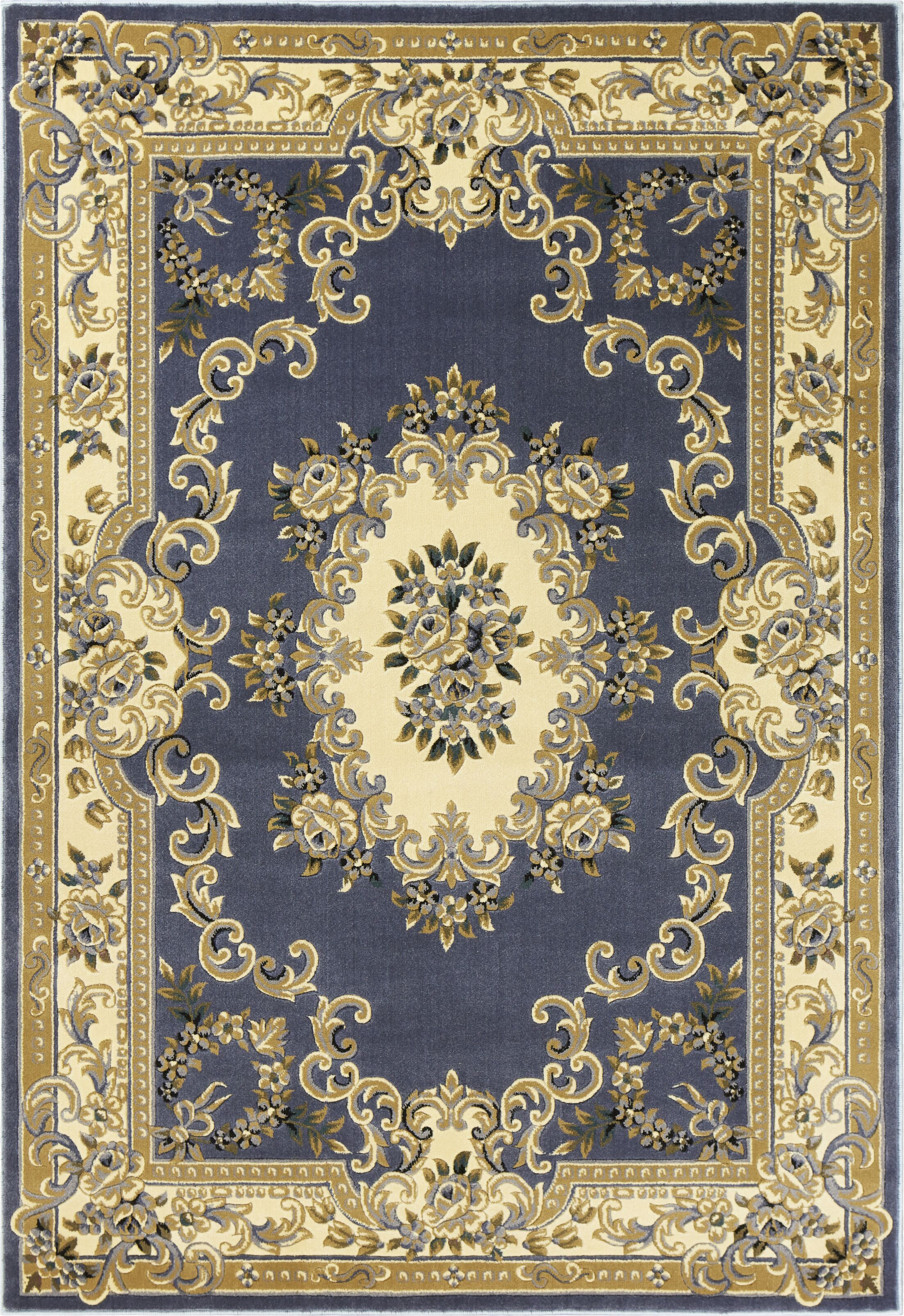 Barwin Aubusson Beige/Blue Area Rug Rug Size: Rectangle 5'3