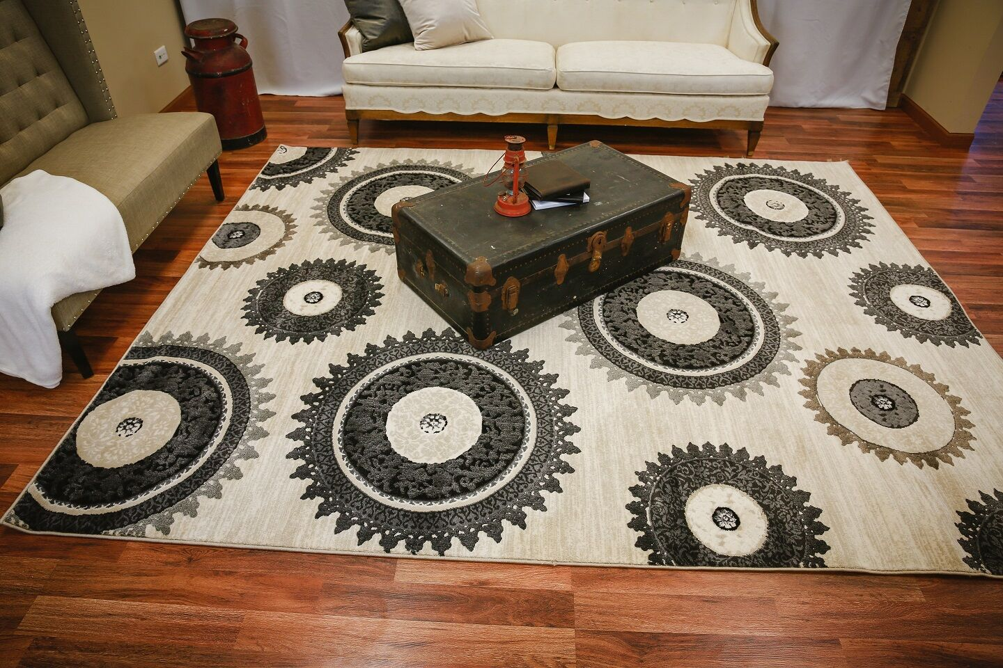 Rawls Modern Geometric Medallions Beige Area Rug Rug Size: Rectangle 5' x 7'