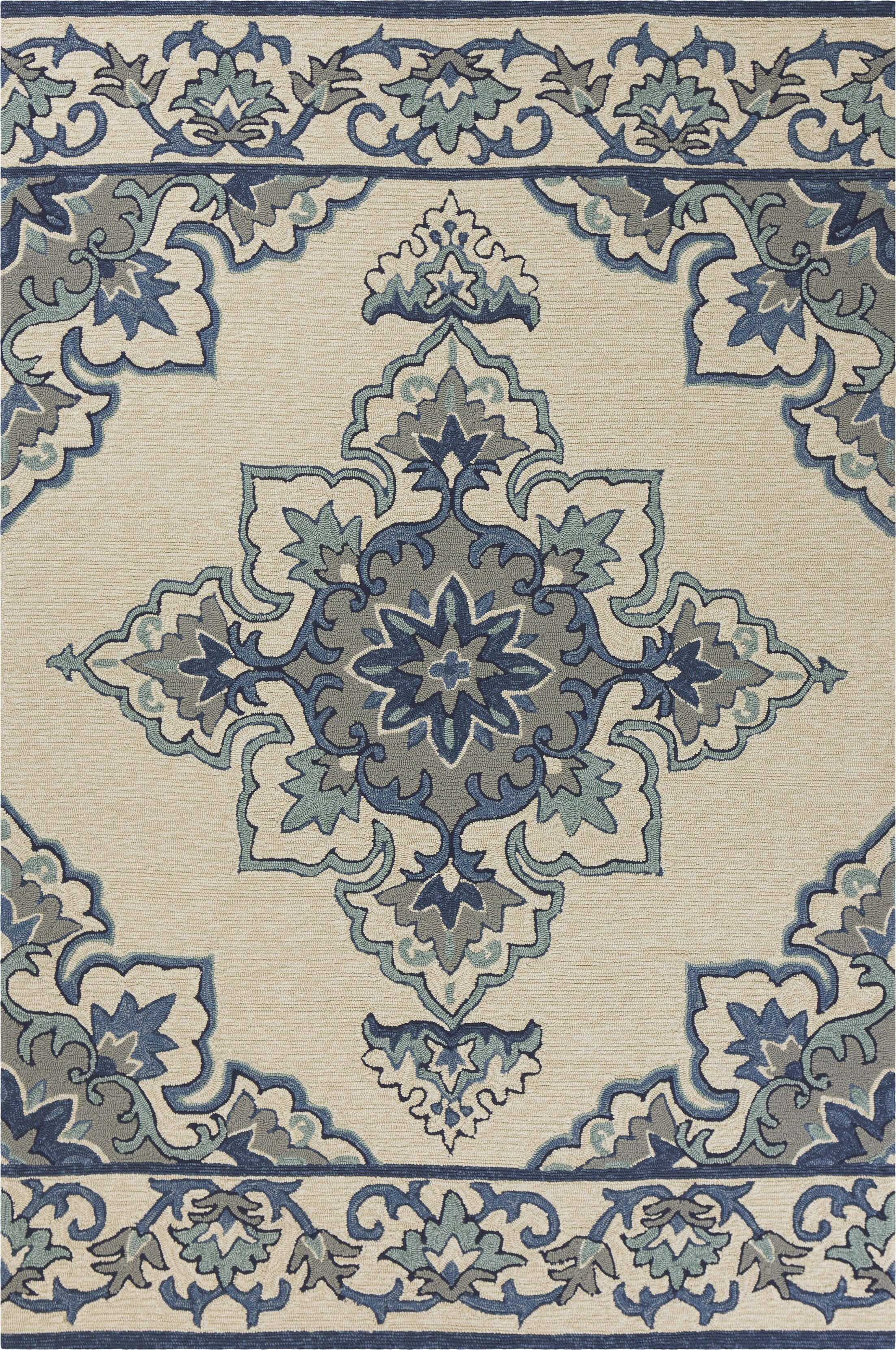 Edinburgh Hand-Woven Ivory/Blue Indoor/Outdoor Area Rug Rug Size: Rectangle 7'6