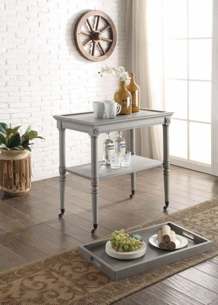 Burlone Wooden Serving Tray Table Color: Gray