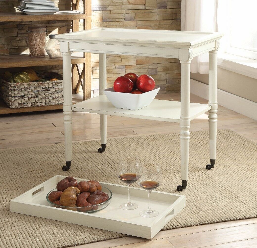 Burlone Wooden Serving Tray Table Color: Antique White