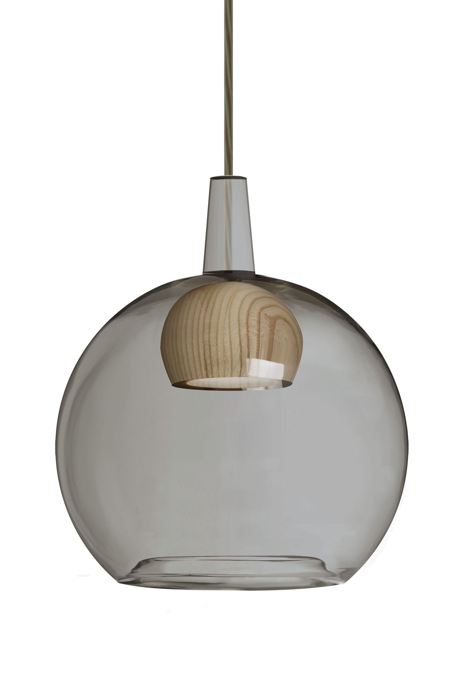 Lulu 1-Light Globe Pendant Shade Color: Smoke/Natural, Finish: Bronze