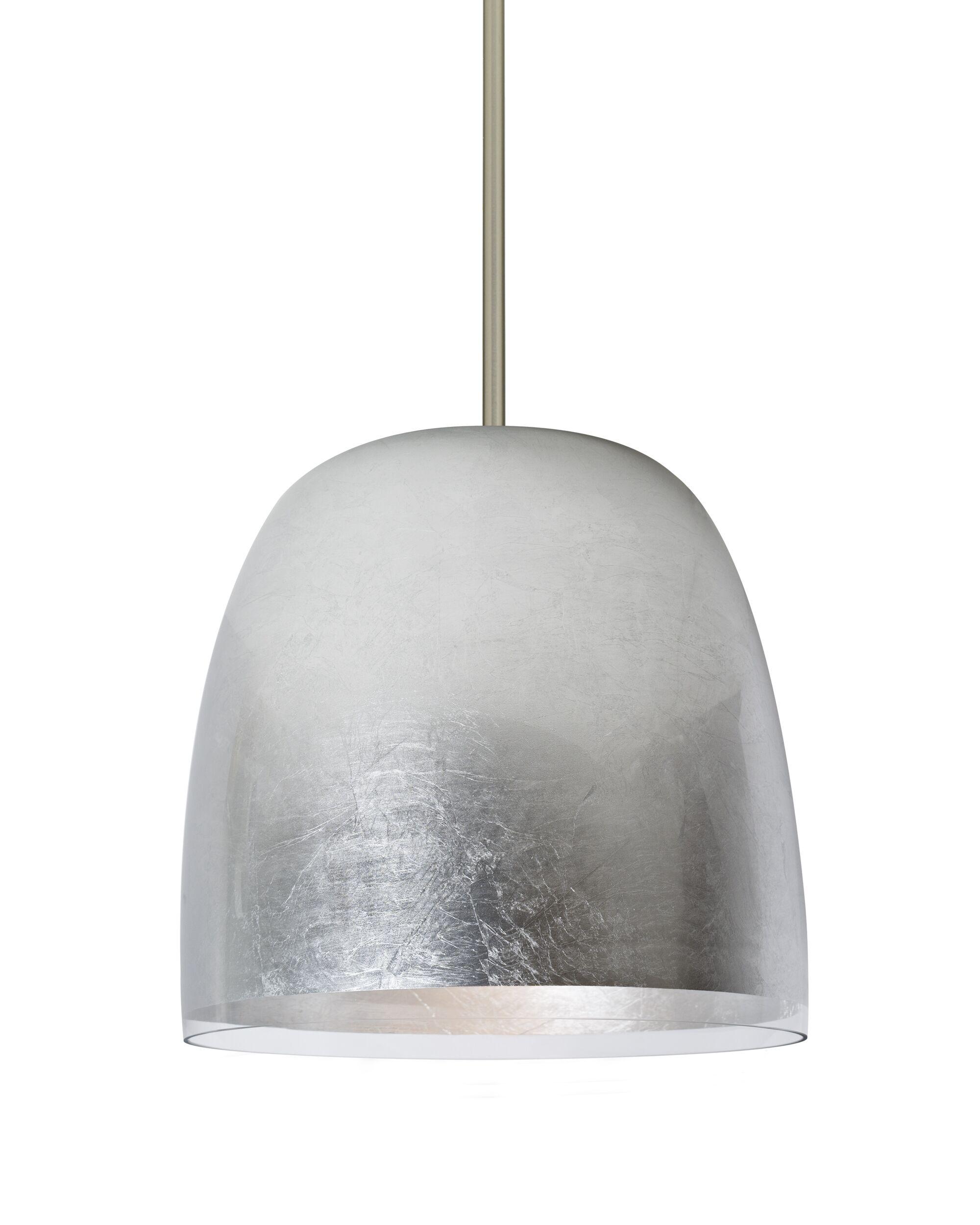 Clarissa 1-Light Dome Pendant Finish: Satin Nickel, Shade Color: Silver Foil
