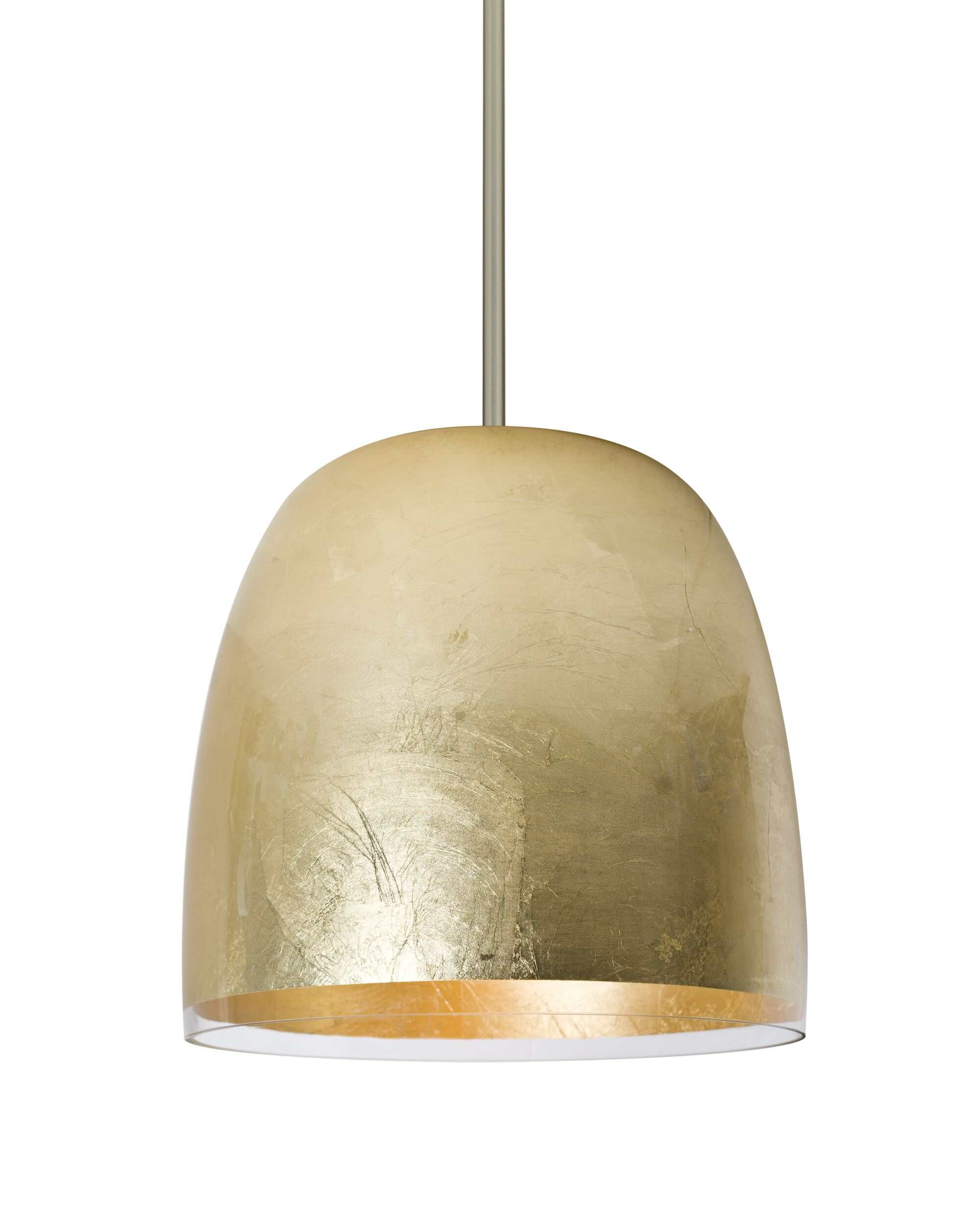 Clarissa 1-Light Dome Pendant Shade Color: Gold Foil, Finish: Satin Nickel