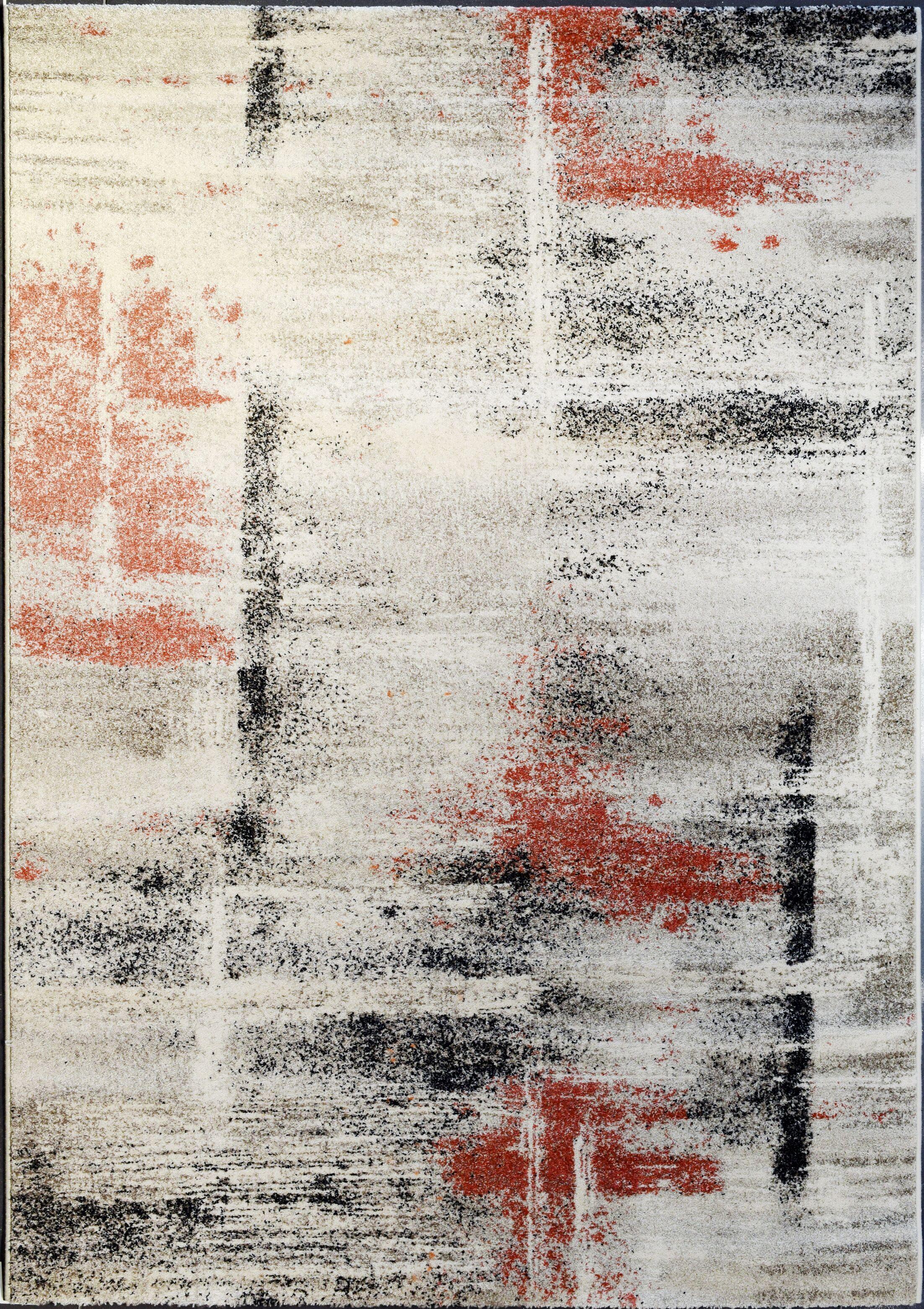 Shani Ivory/Rust Area Rug Rug Size: Rectangle 3'11