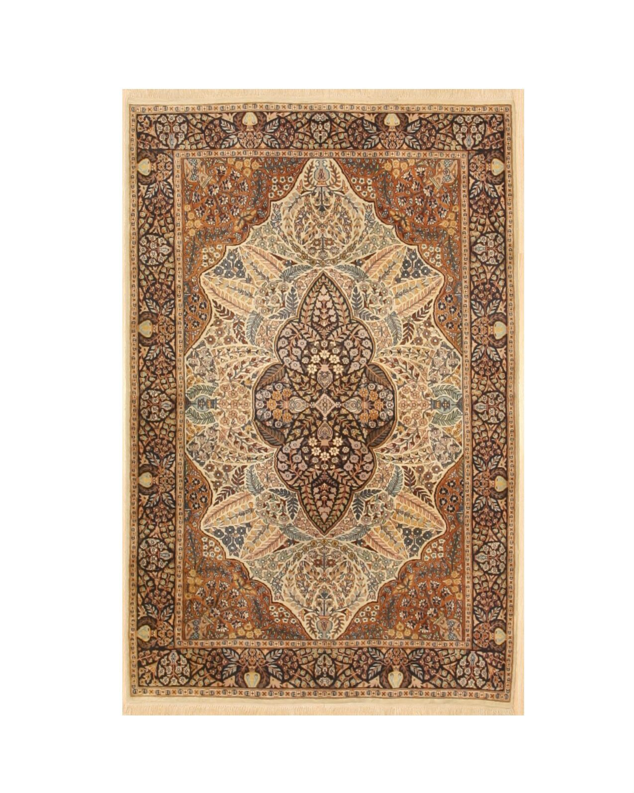 One-of-a-Kind Plotkin Oriental Traditional Hand-Knotted Wool Ivory Area Rug