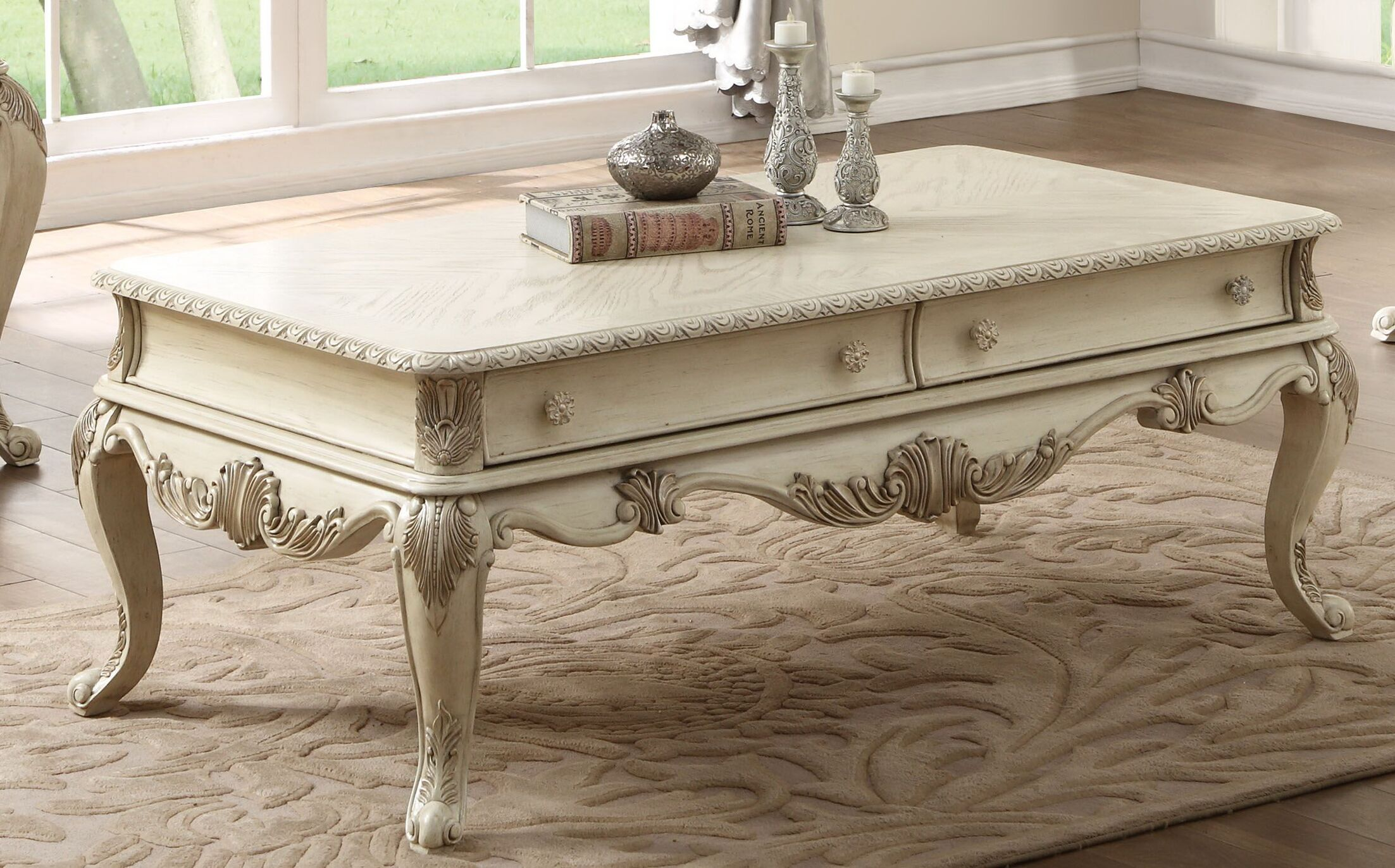Lorentz�Coffee Table Color: Antique White