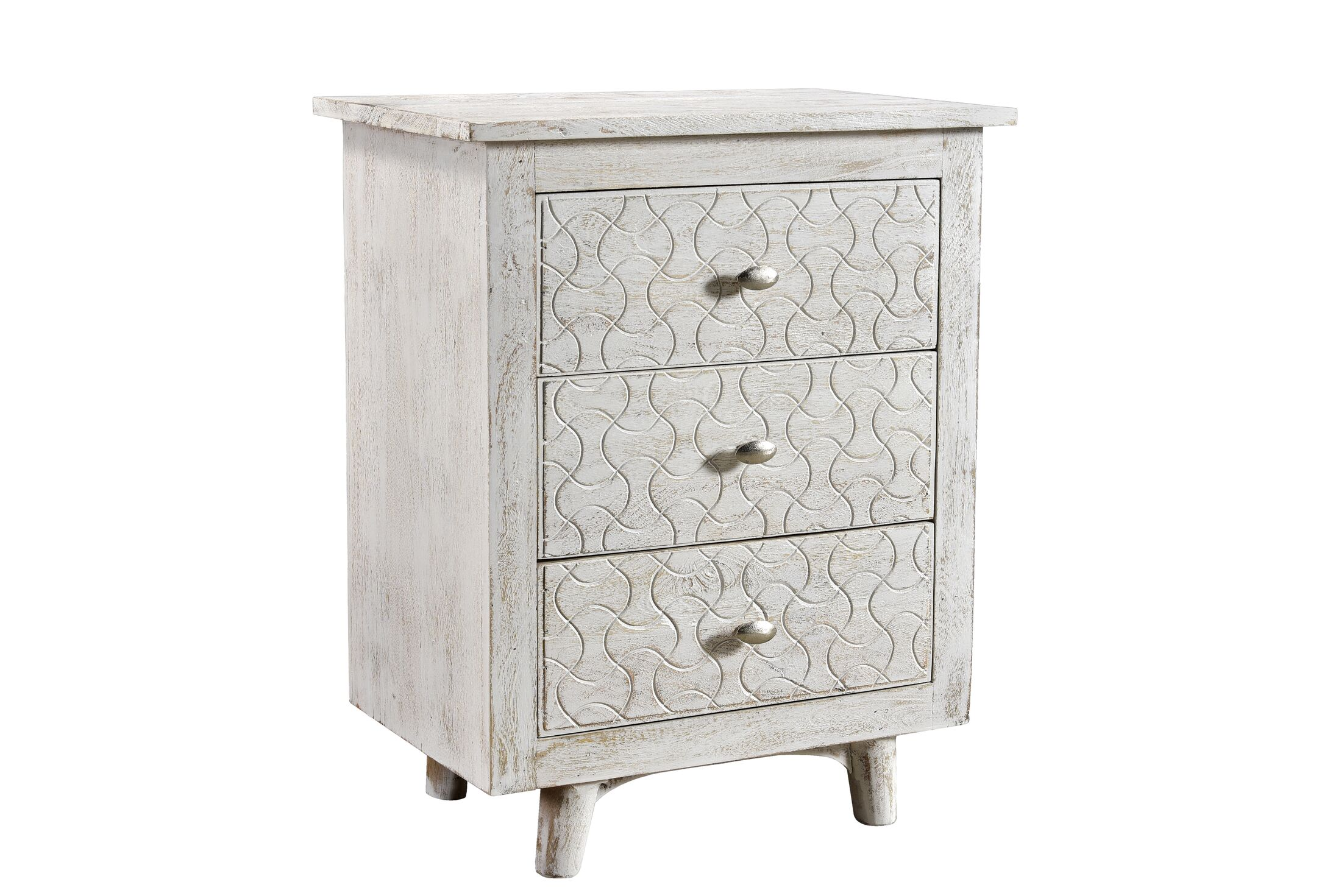 Endsley 3 Drawer Nightstand Color: White