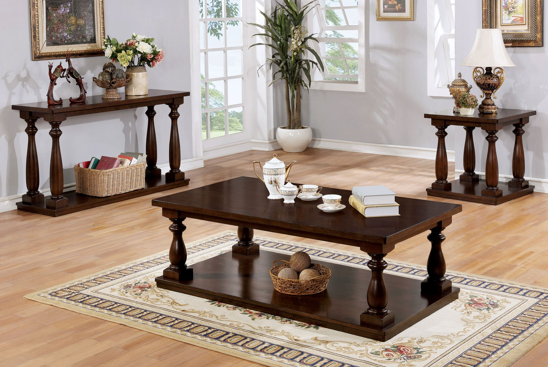 Bardwell Rustic 3 Piece Coffee Table Set