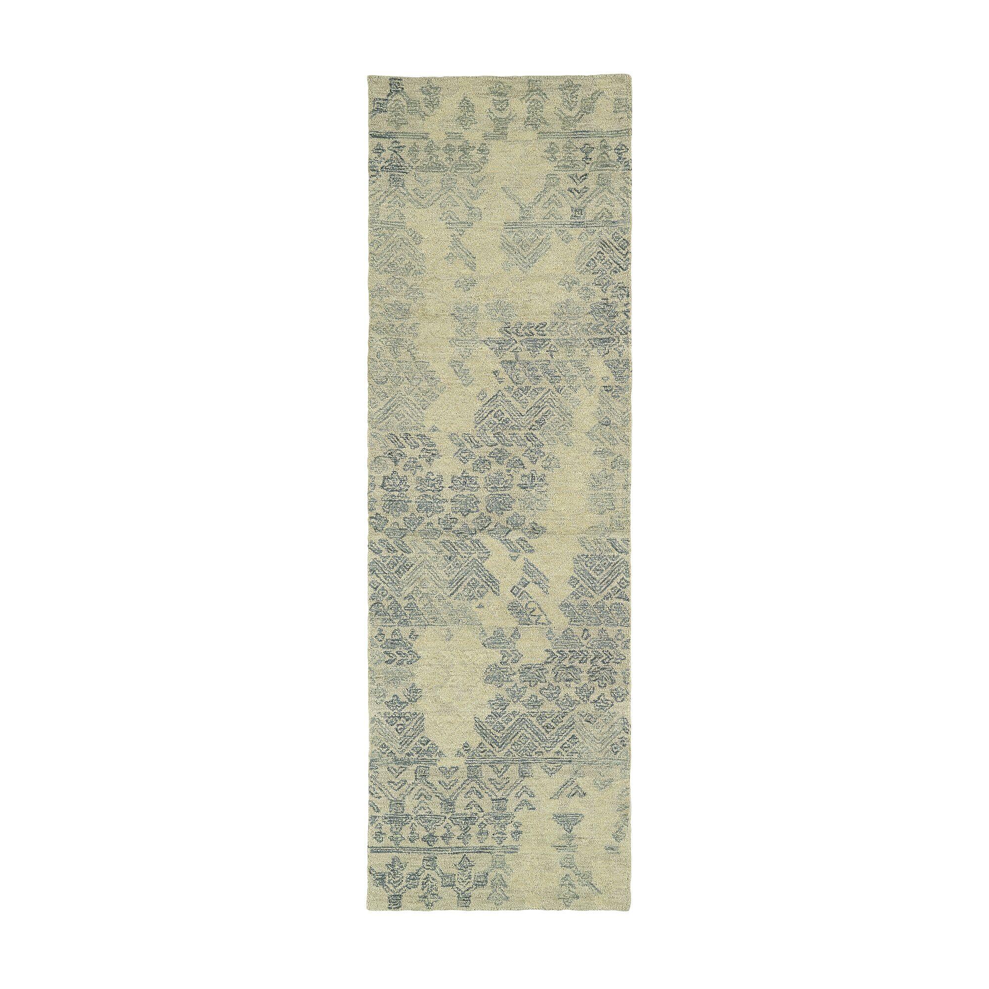 Stockman Hand-Tufted Wool Denim/Beige Area Rug Rug Size: Runner 2'6