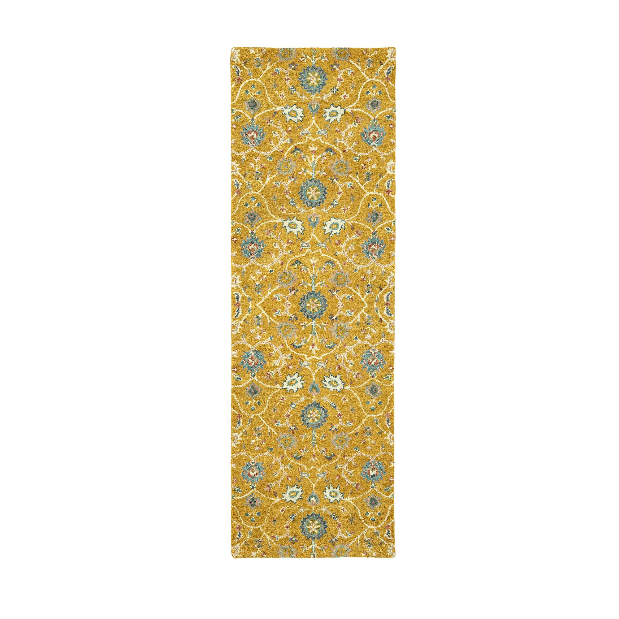 Romarin Hand-Tufted Wool Gold Area Rug Rug Size: Runner 2'6