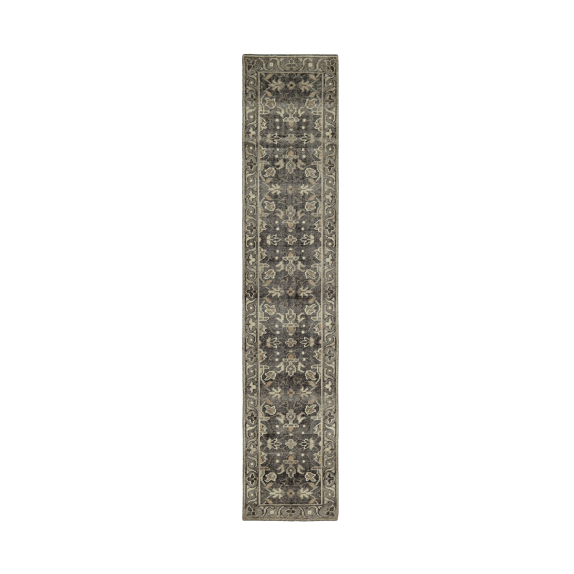 Romeo Hand-Knotted Wool Charcoal Area Rug Rug Size: Runner 2'6