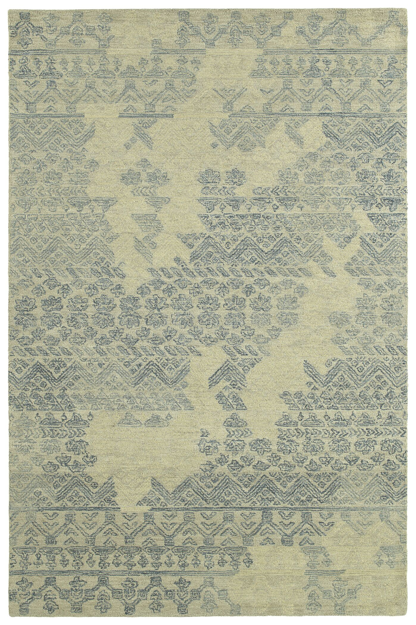 Stockman Hand-Tufted Wool Denim/Beige Area Rug Rug Size: Rectangle 4' x 6'