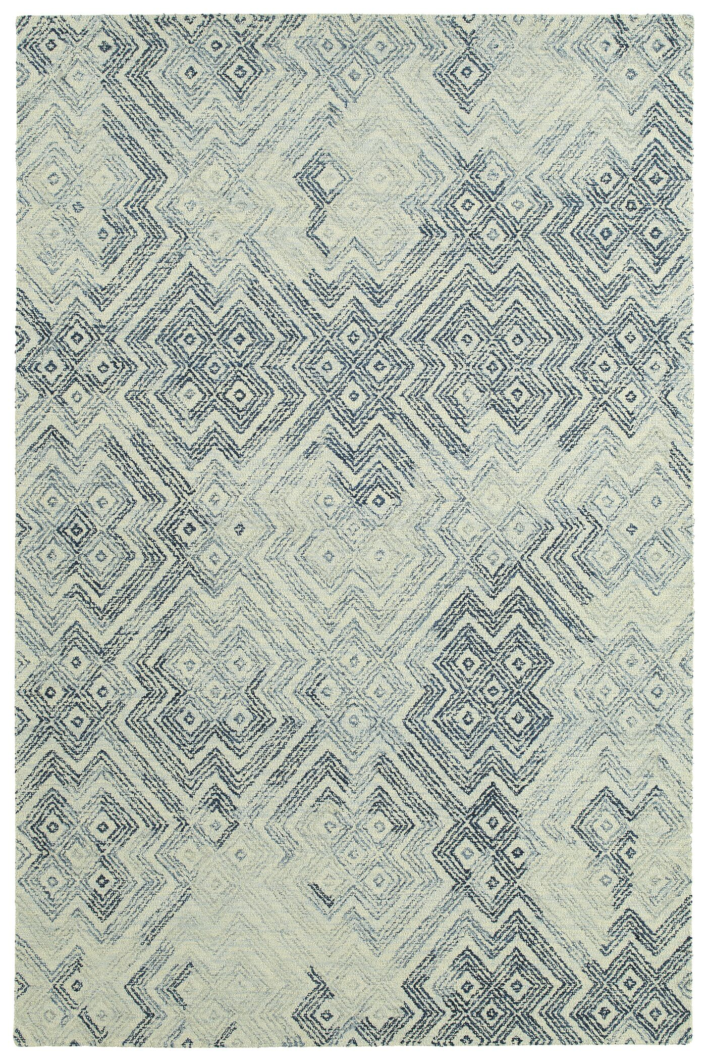 Stockman Hand-Tufted Wool Ivory/Denim Area Rug Rug Size: Rectangle 5' x 7'9