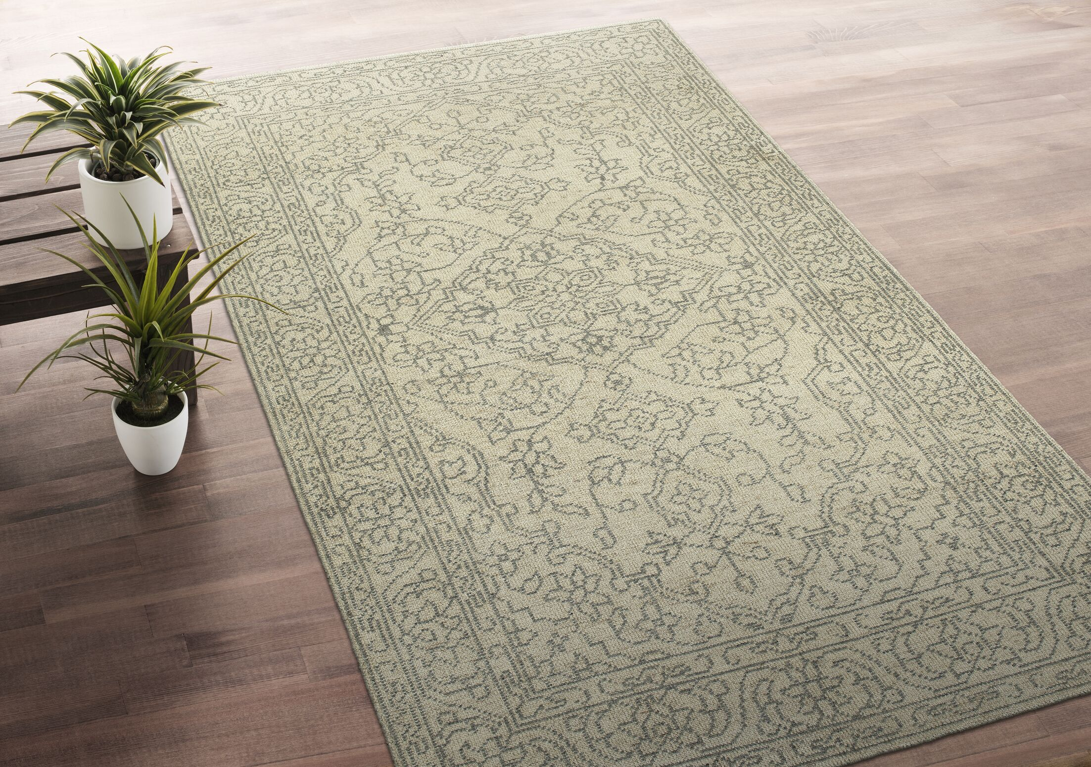Romeo Hand-Knotted Wool Gray/Ivory Area Rug Rug Size: Rectangle 9' x 12'