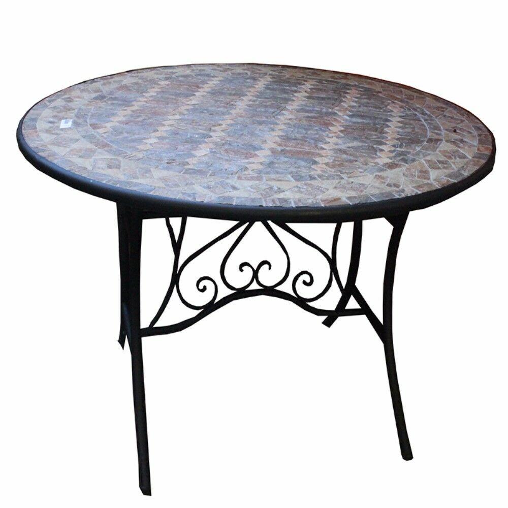 Gottschalk Solid Round Mosaic Dining Table