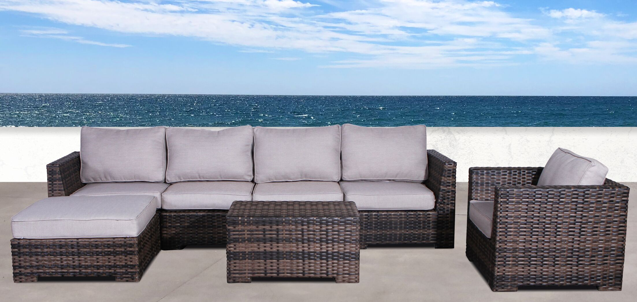 Pierson Resort Club 4 Piece Sectional Set with Cushions