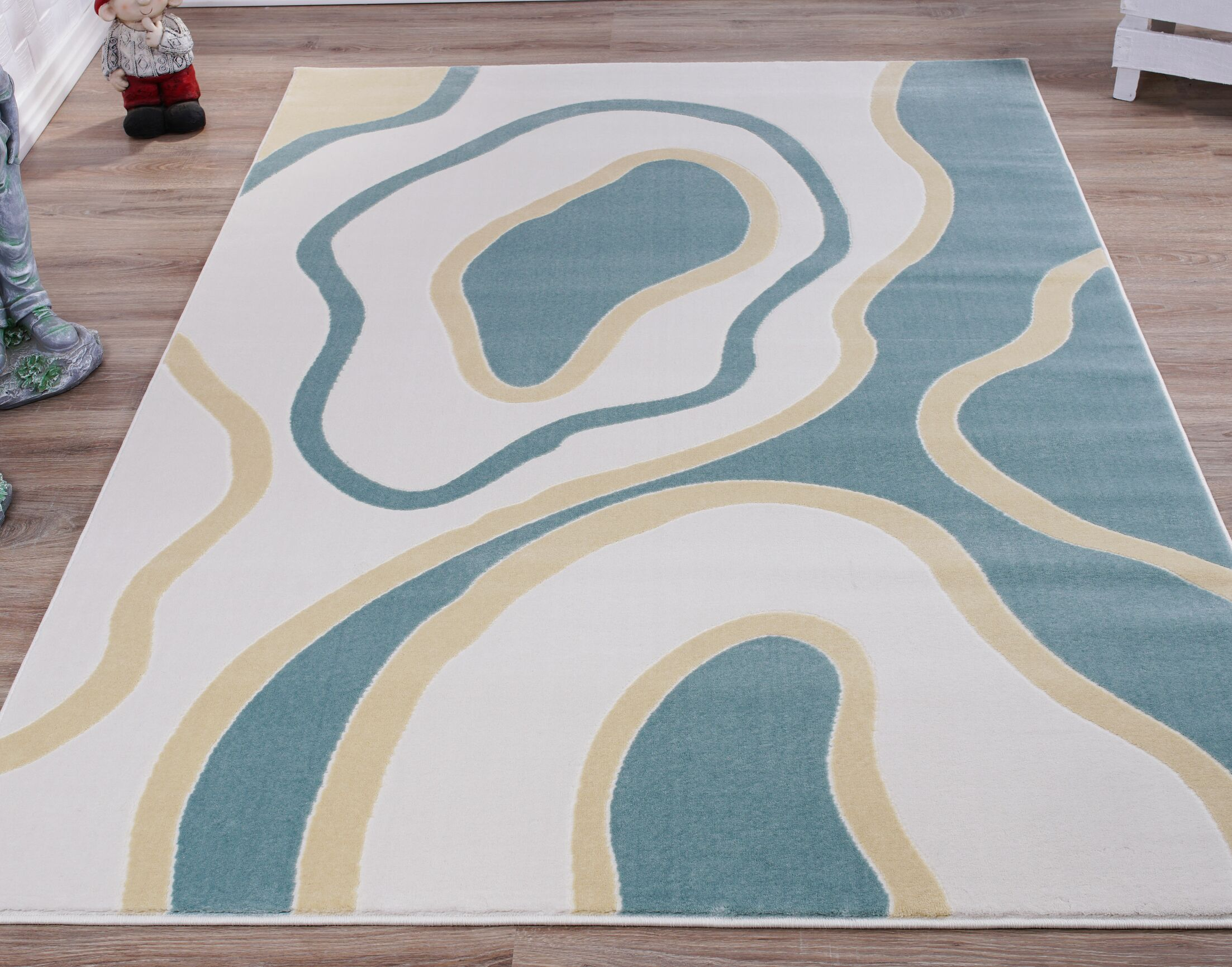 Fritch Abstract White/Blue Area Rug Rug Size: Rectangle 5'3