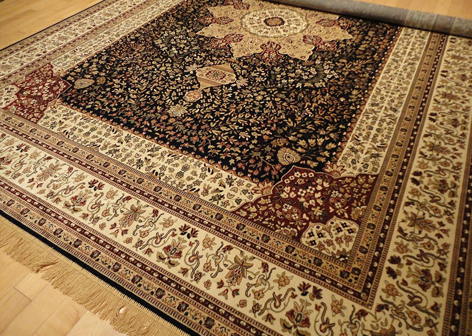 Shanelle Living Room Hand-Knotted Silk Navy/Beige Area Rug Rug Size: Rectangle 5' x 8'