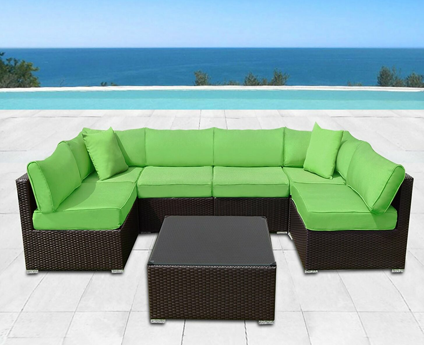 Ilebo 7 Piece Rattan Sectional Set with Cushions Fabric: Apple Green